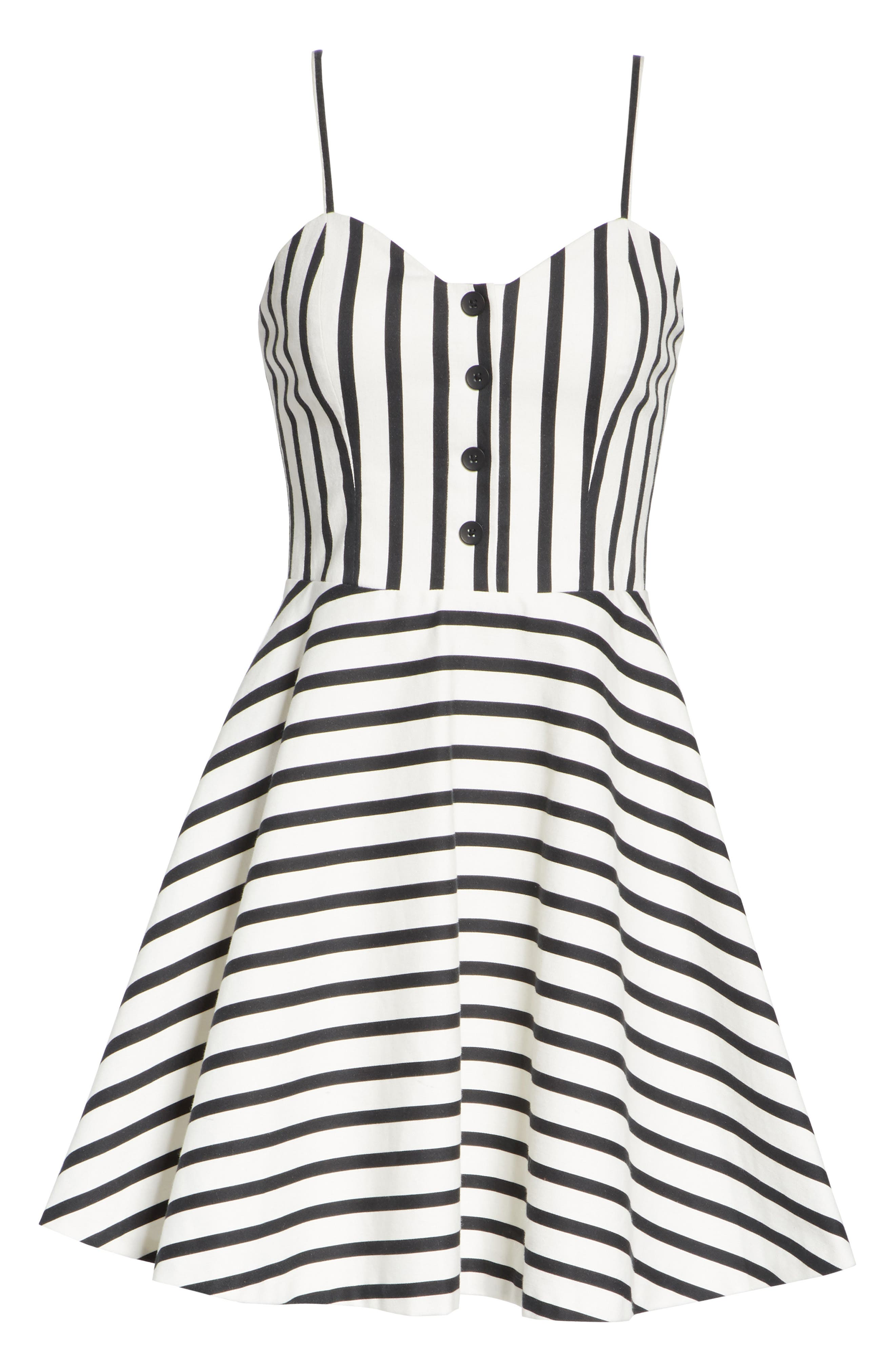 Nella Button Front Stripe Dress,                             Alternate thumbnail 6, color,                             Monochrome Stripe