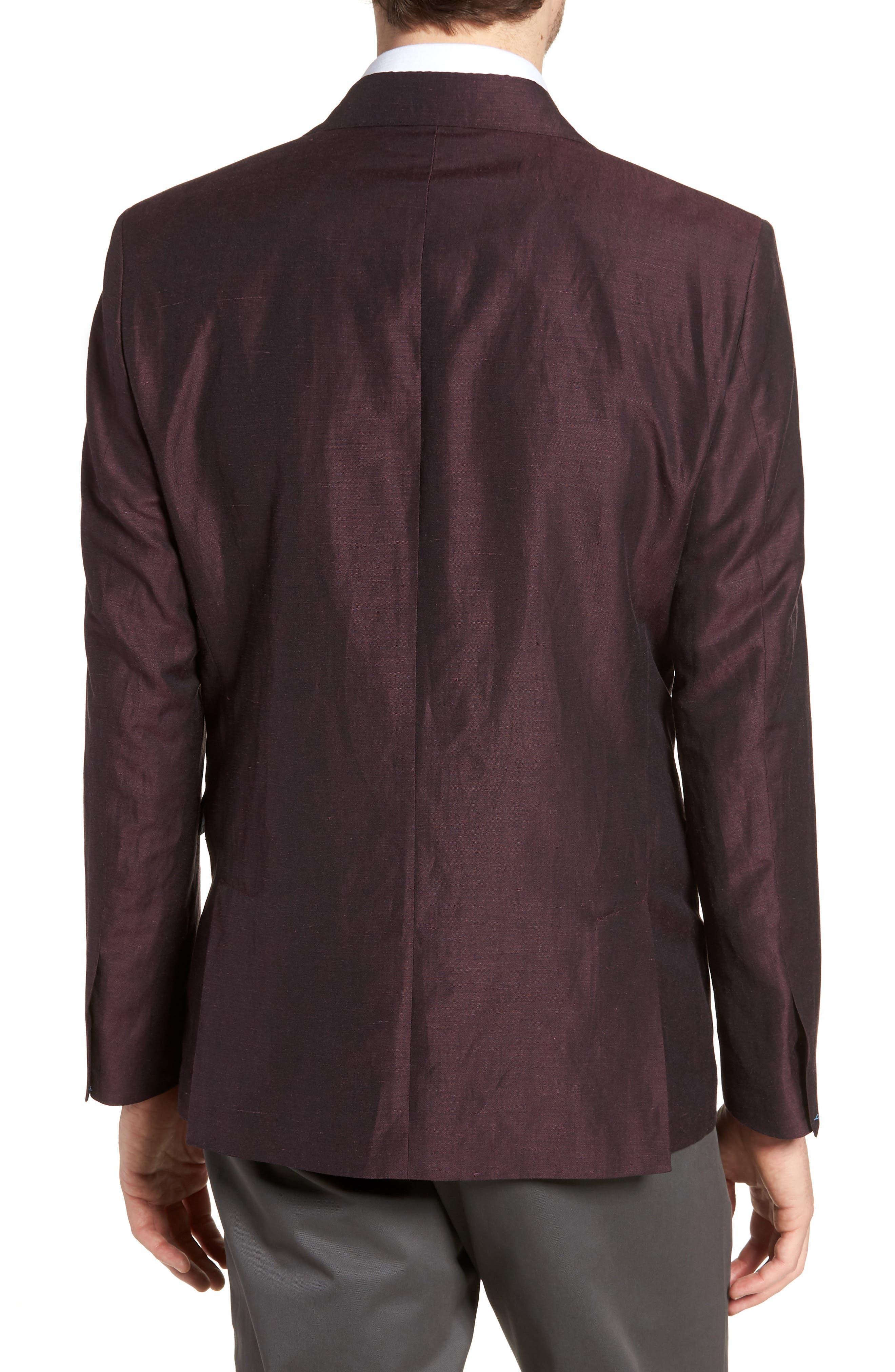 Shelby Trim Fit Wool & Linen Suit Jacket,                             Alternate thumbnail 2, color,                             Plum
