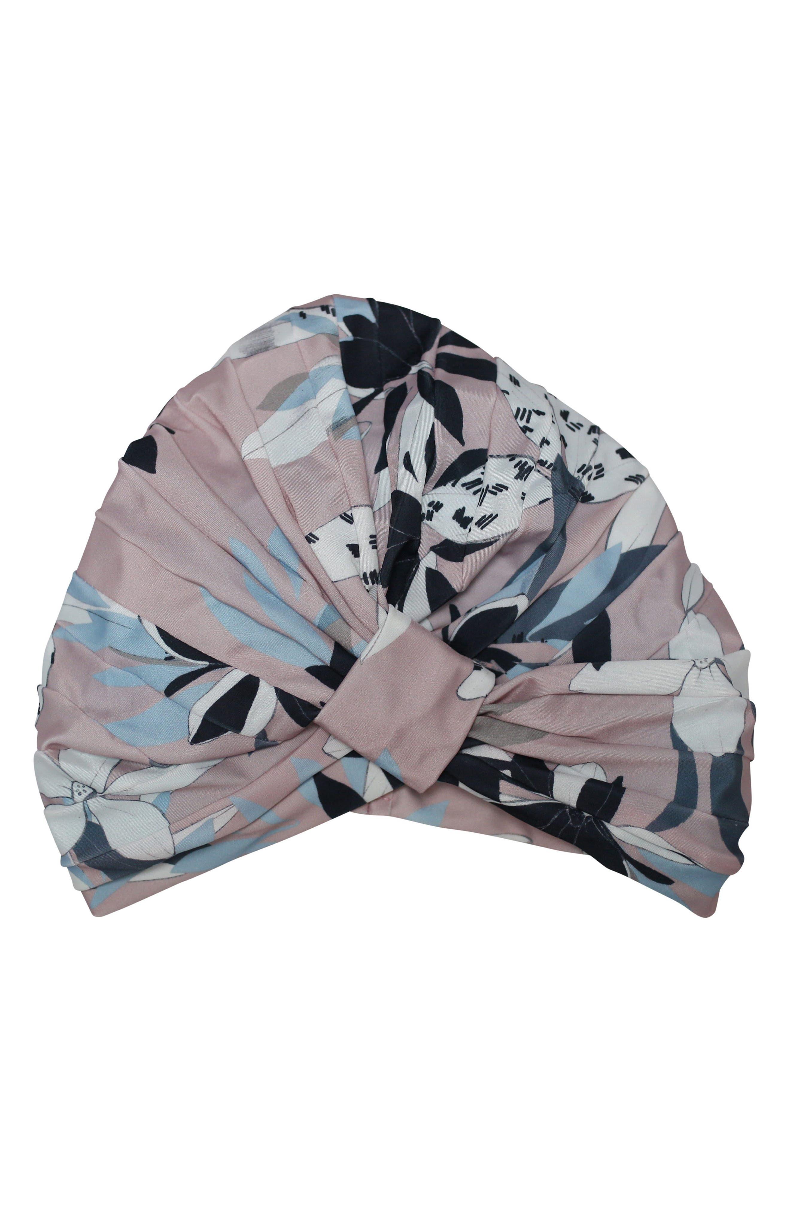 Amelie Turban Shower Cap,                             Main thumbnail 1, color,                             Soft Pink Floral