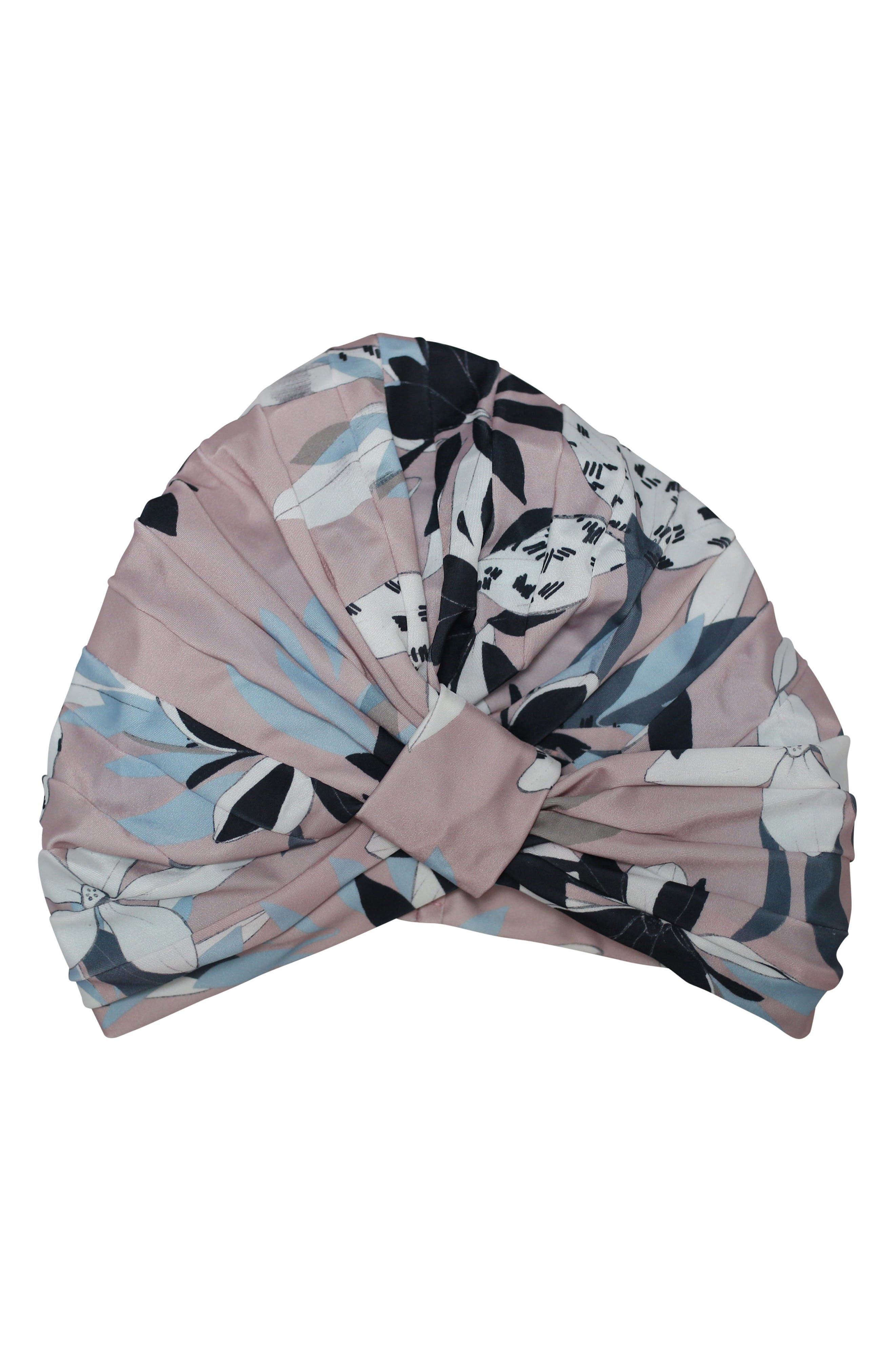Amelie Turban Shower Cap,                         Main,                         color, Soft Pink Floral