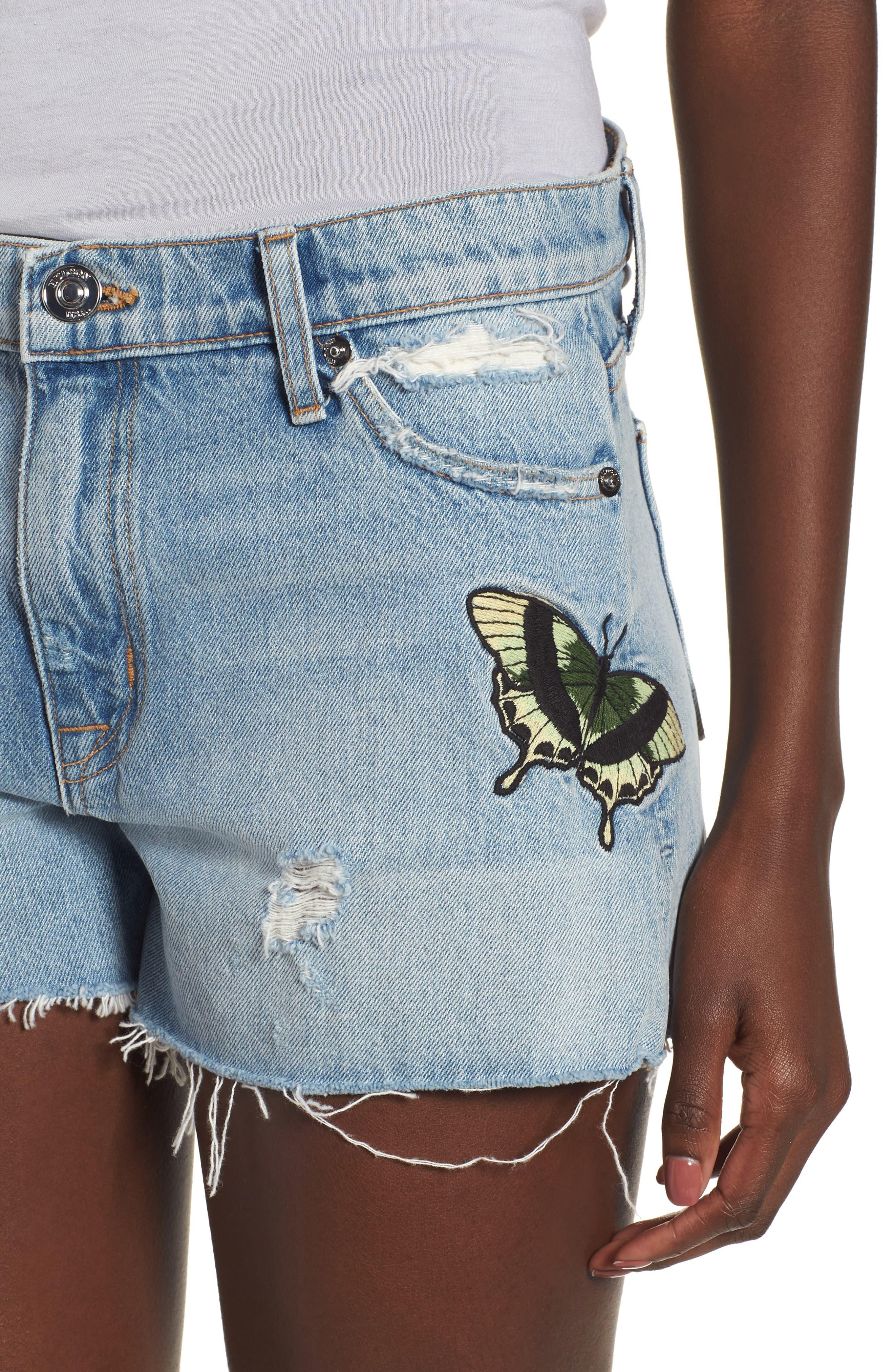 Sade Cutoff Denim Shorts,                             Alternate thumbnail 4, color,                             Monarch
