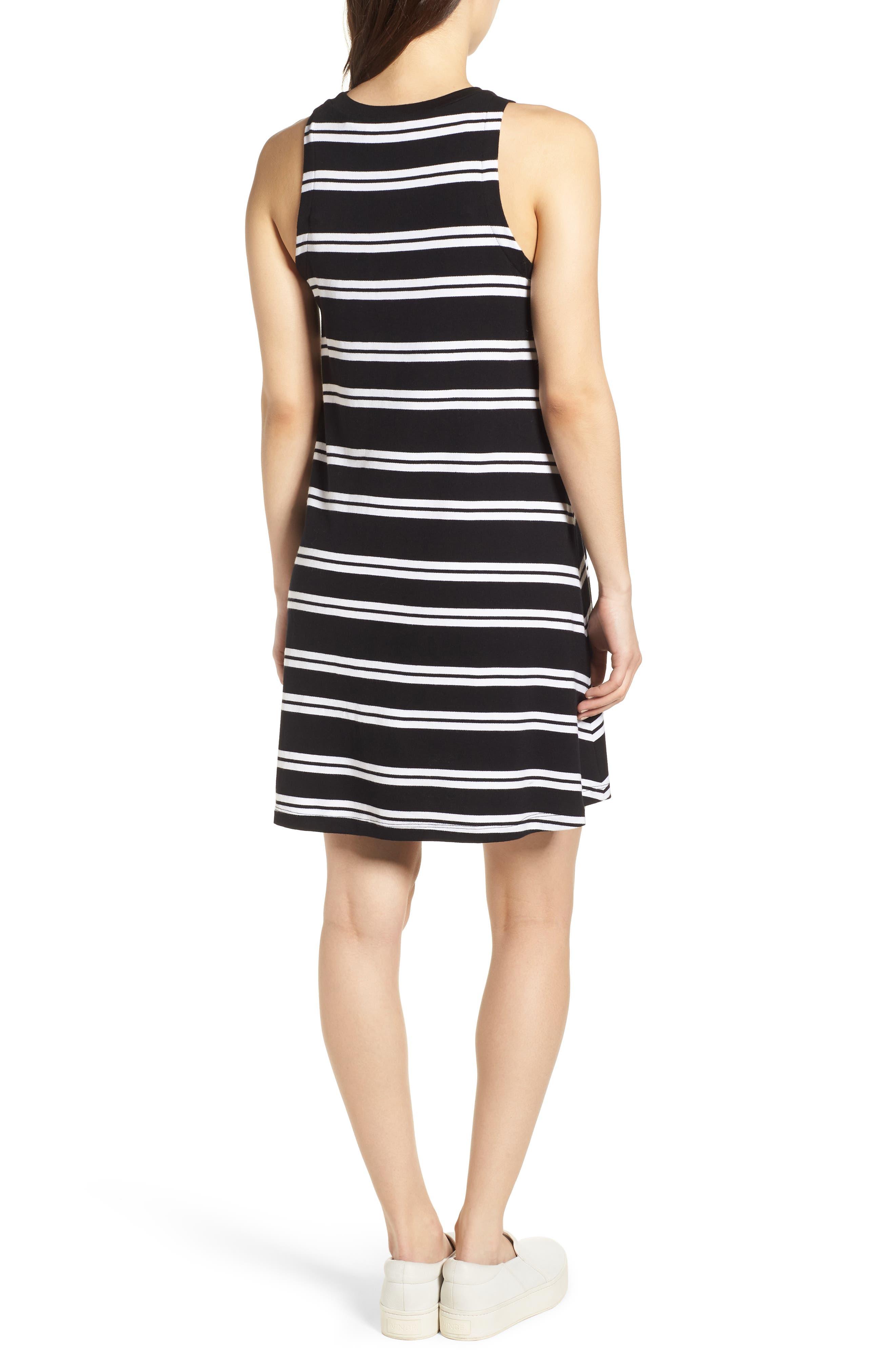 Sleeveless Stretch Knit Stripe Dress,                             Alternate thumbnail 2, color,                             Black