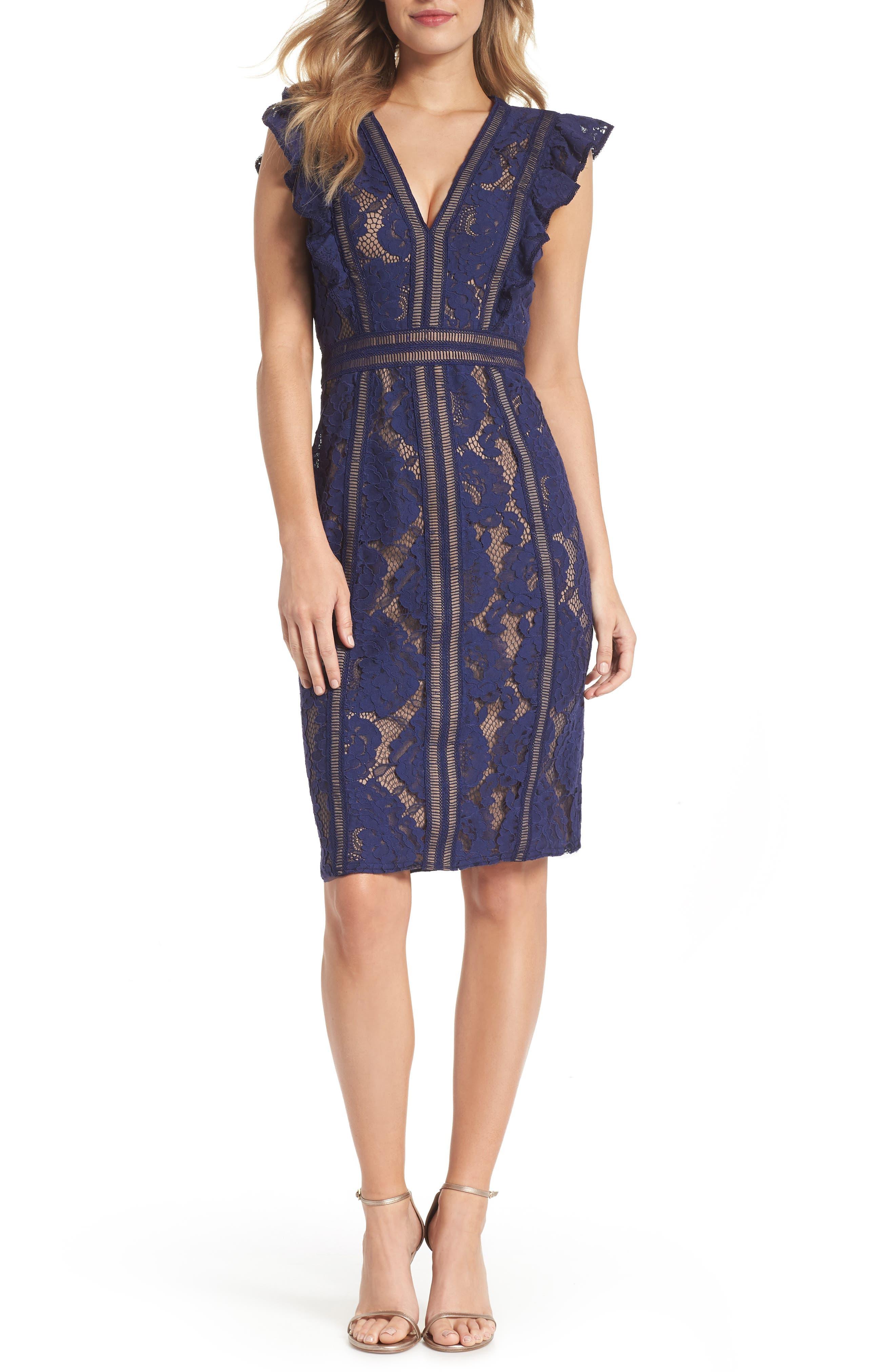 Lace Sheath Dress,                         Main,                         color, Notte/ Nude