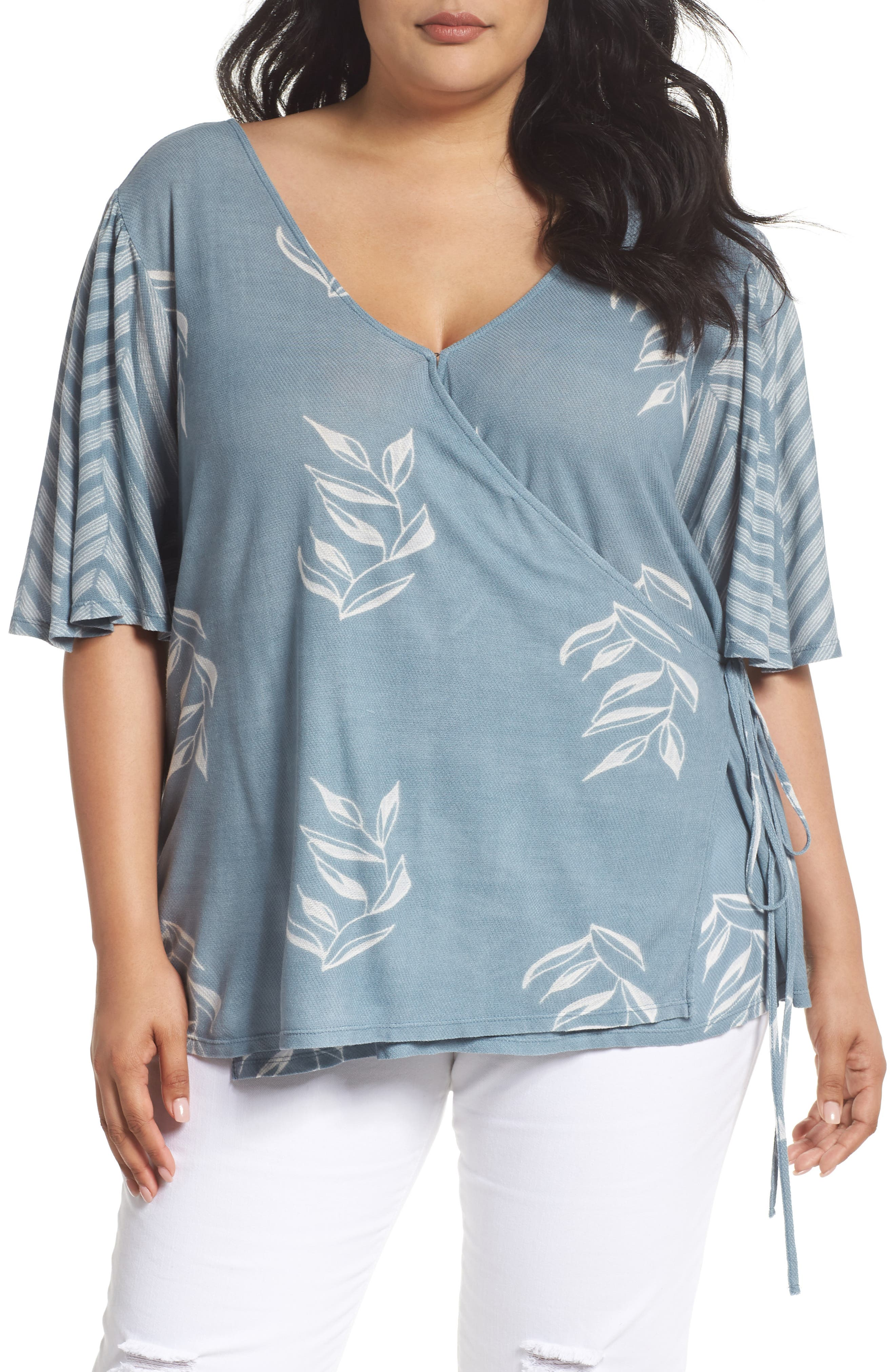 Lucky Brand Leaf Print Wrap Top (Plus Size)