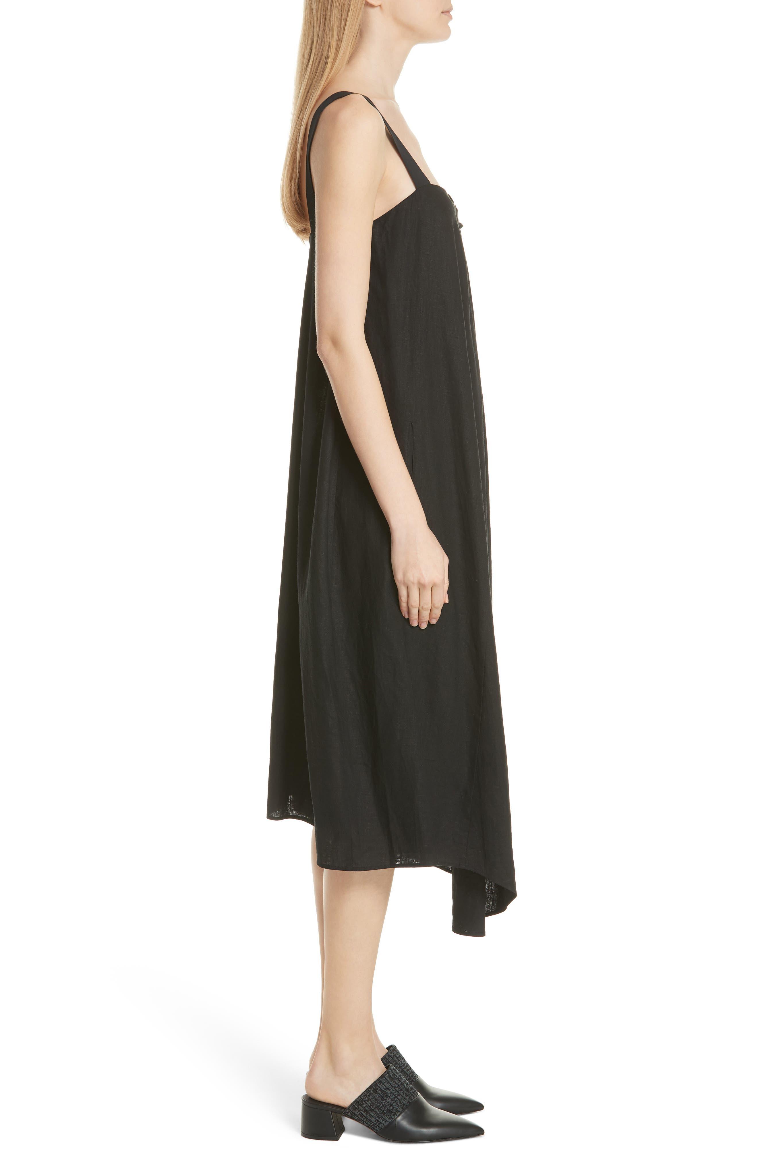 Drape Neck Asymmetrical Hem Dress,                             Alternate thumbnail 3, color,                             Black