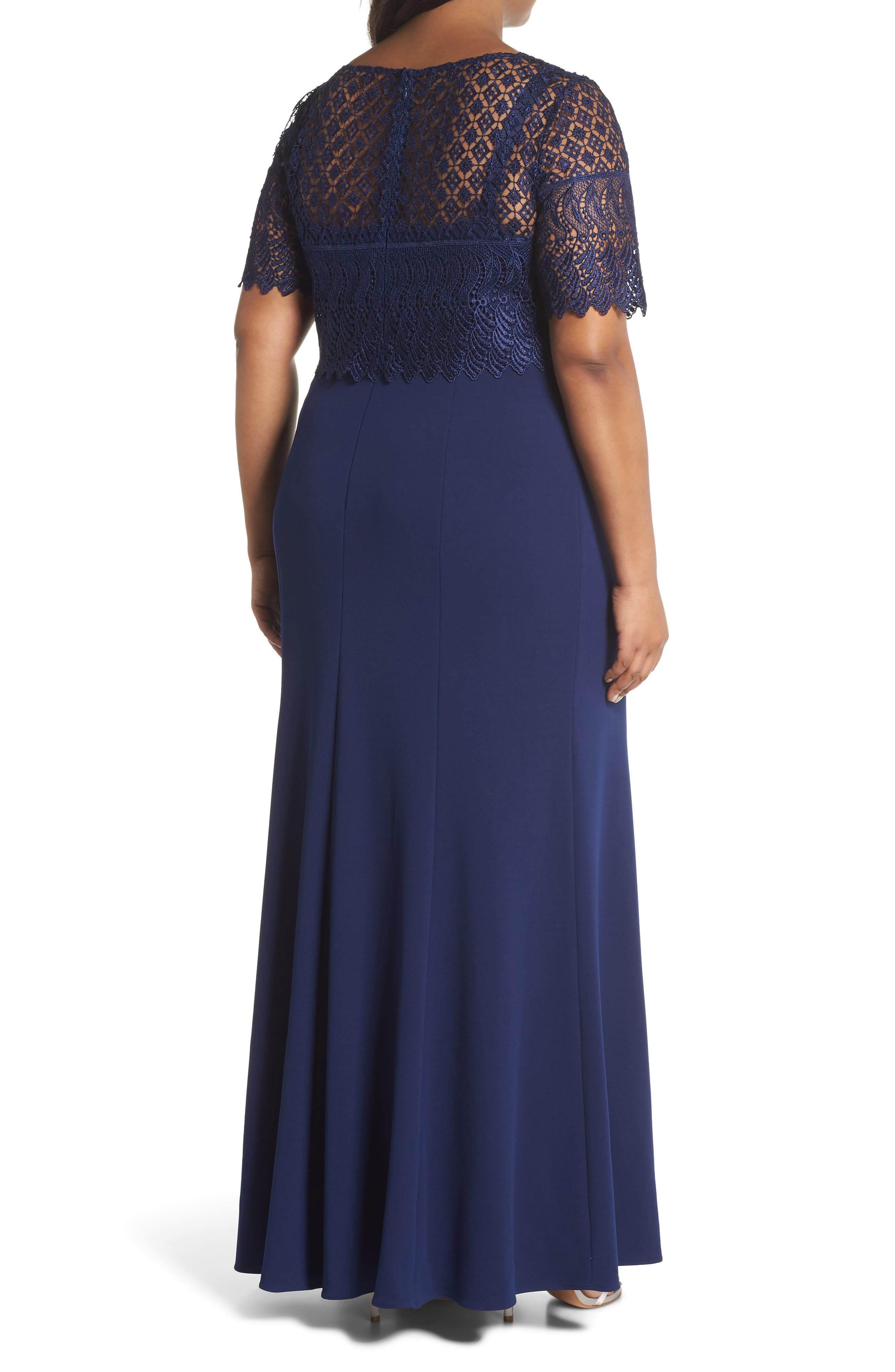Guipure Popover Crepe Gown,                             Alternate thumbnail 2, color,                             Light Navy