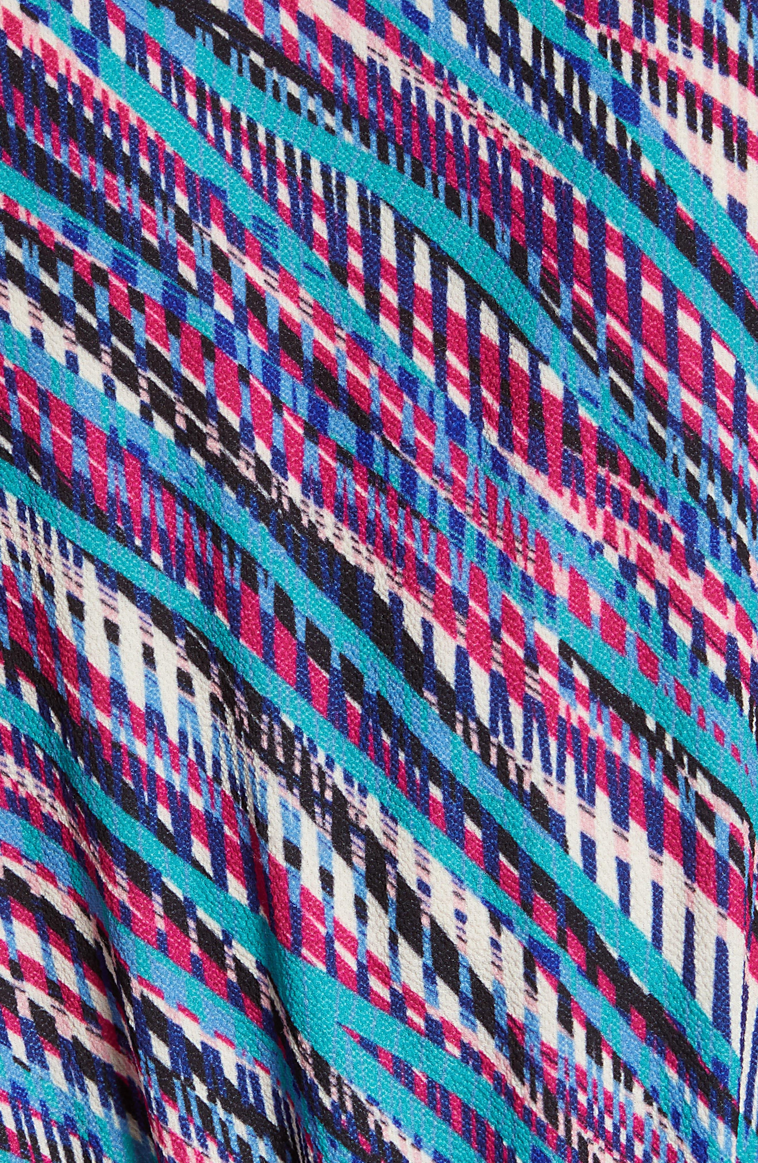 Faux Wrap Top,                             Alternate thumbnail 6, color,                             Pink- Teal Diagonal Print