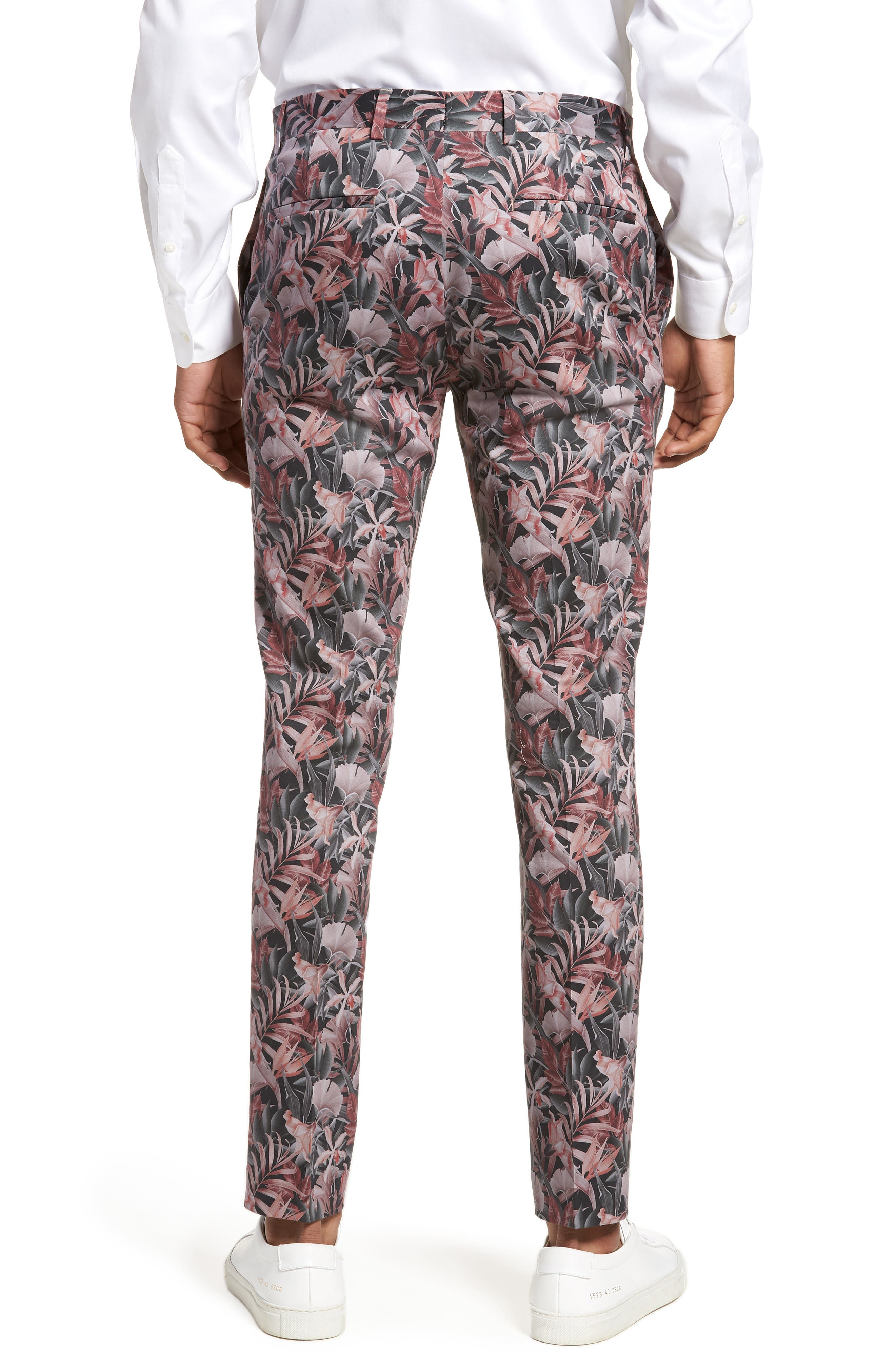 Ultra Skinny Fit Hibiscus Print Suit Trousers,                             Alternate thumbnail 2, color,                             Pink Multi