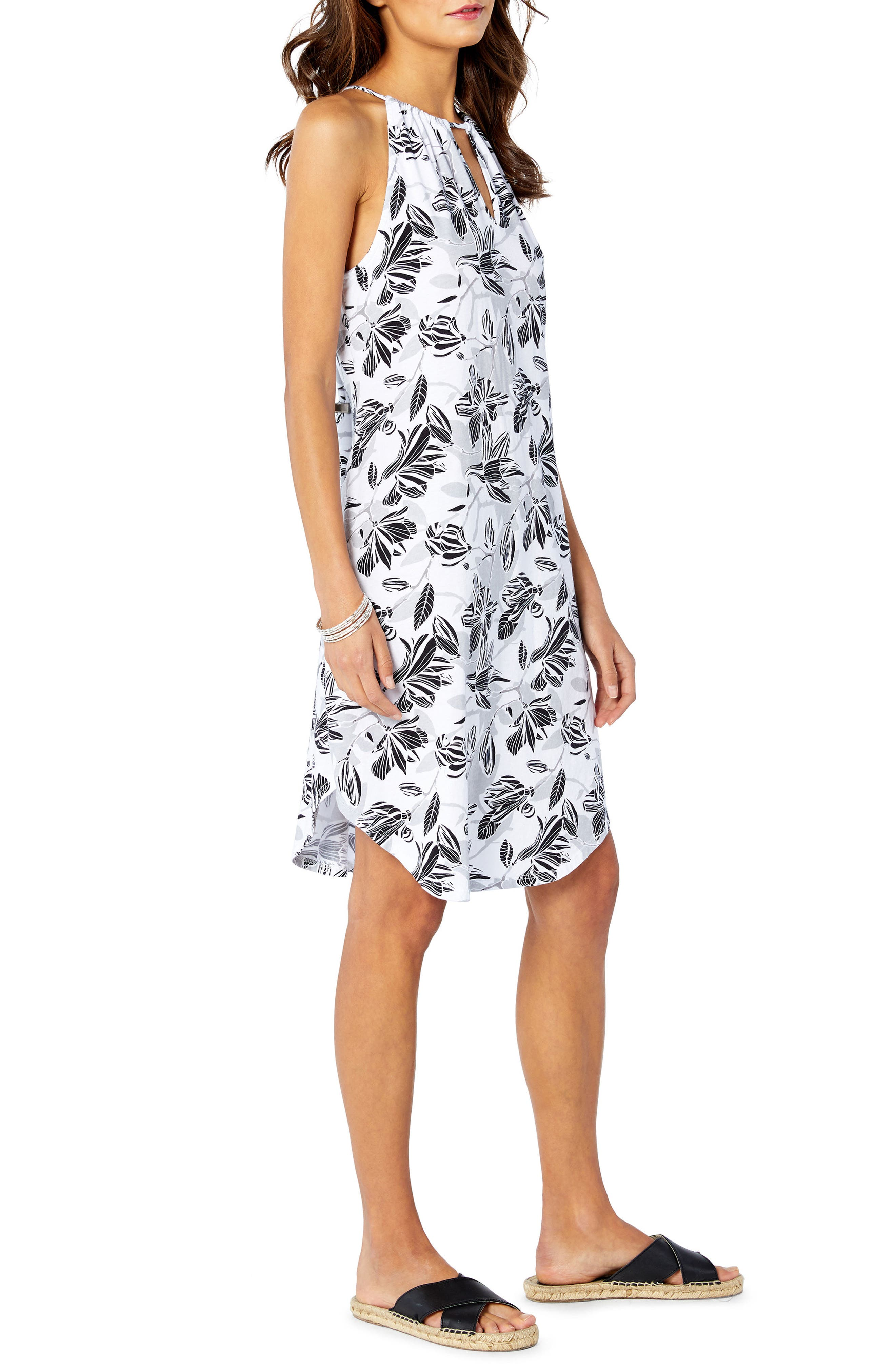 Floral Sun Dress,                             Alternate thumbnail 3, color,                             White