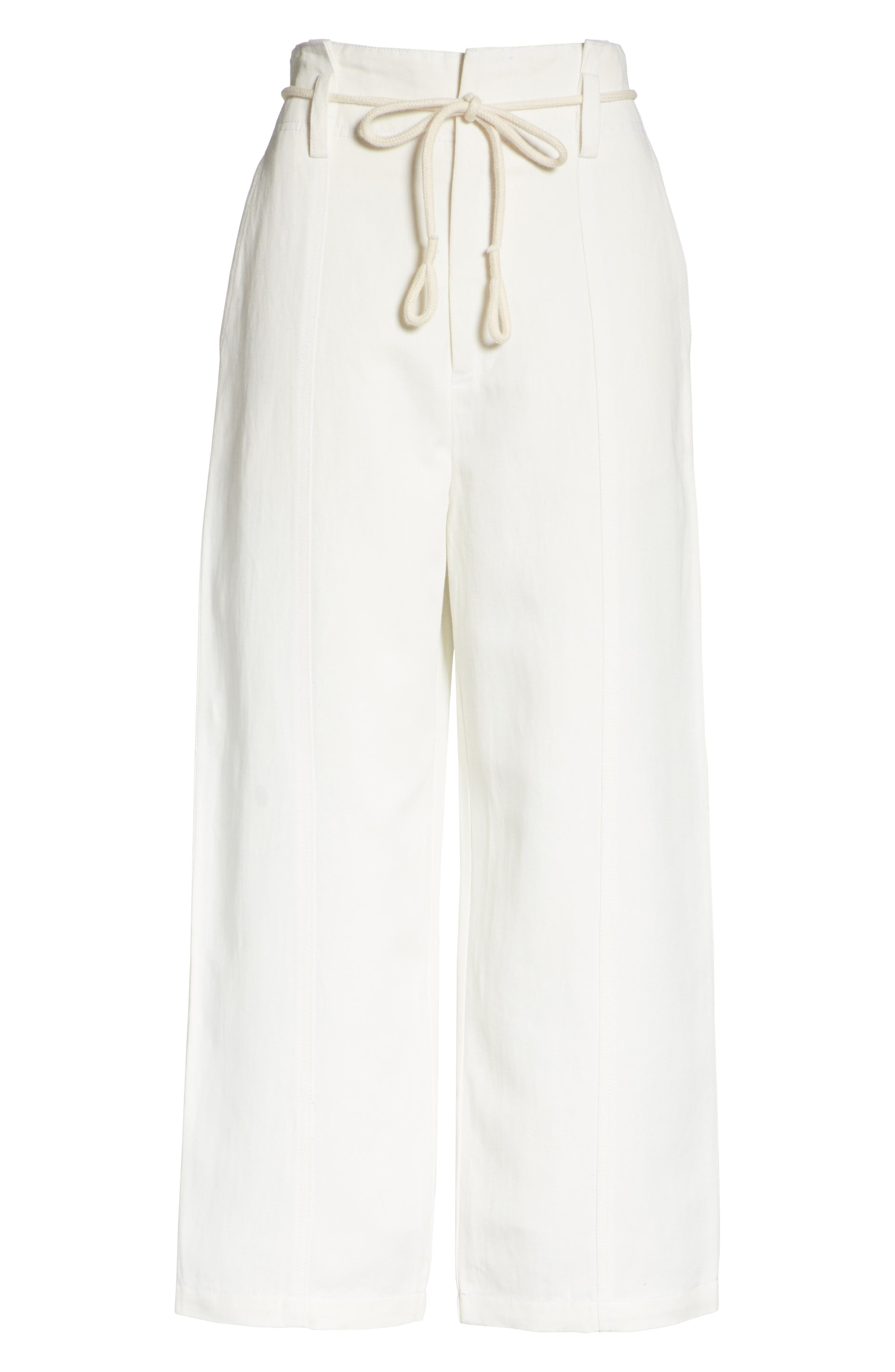 High Rise Linen Cotton Crop Pants,                             Alternate thumbnail 6, color,                             Off White