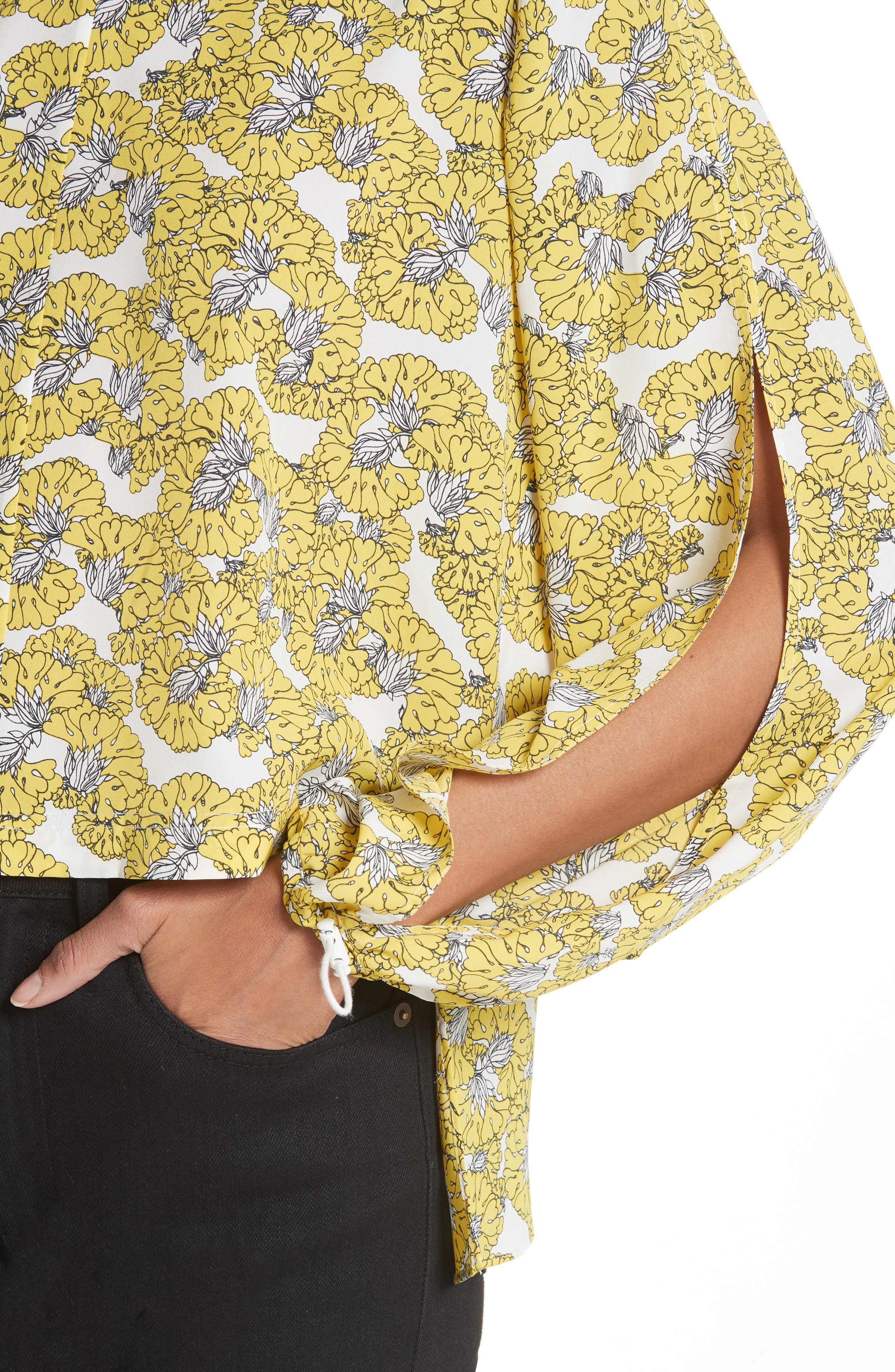 Floral Print Ruffle Back Top,                             Alternate thumbnail 4, color,                             Yellow Floral