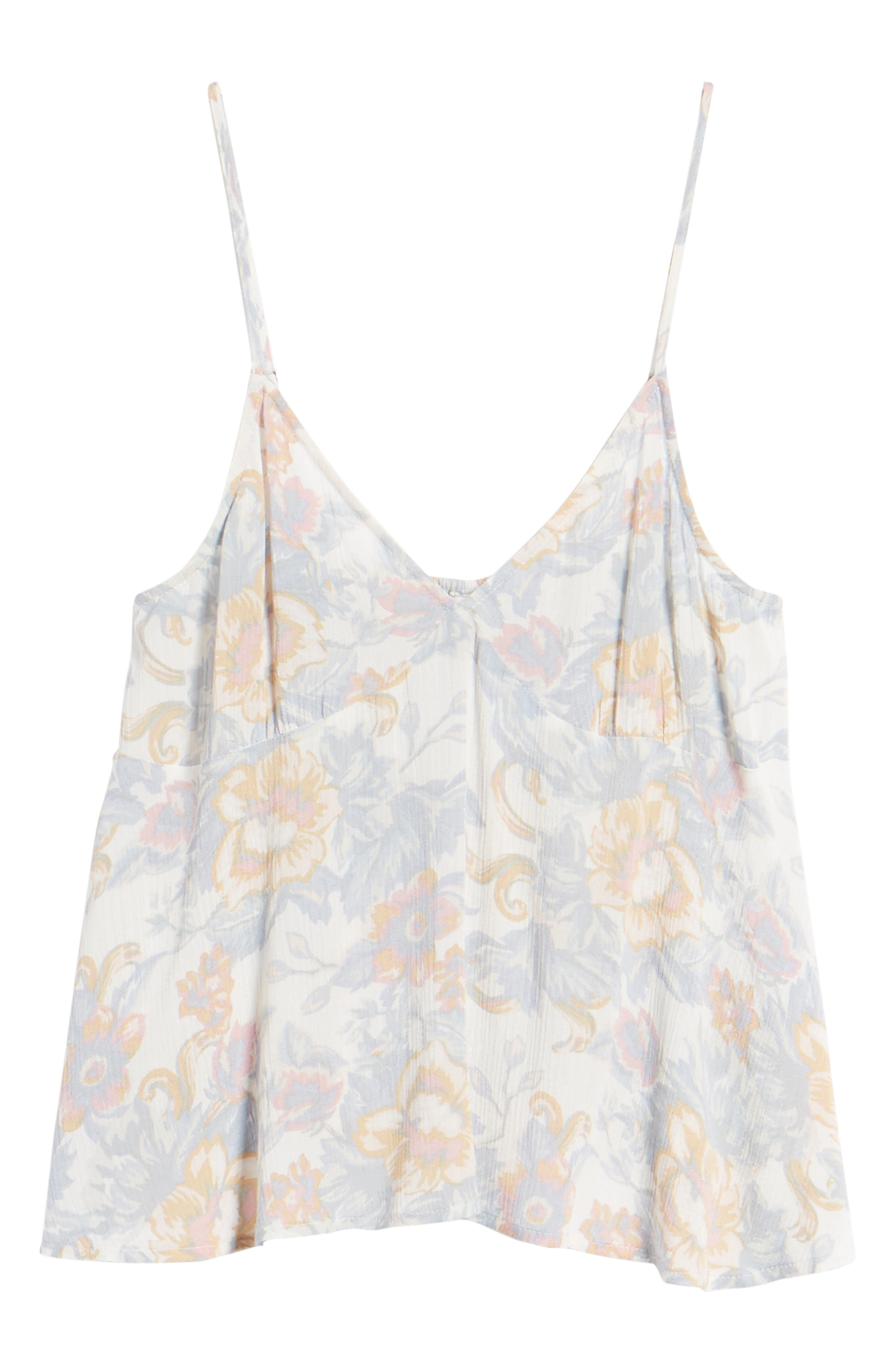 Print Babydoll Camisole,                             Alternate thumbnail 7, color,                             Ivory Egret Tapestry Floral