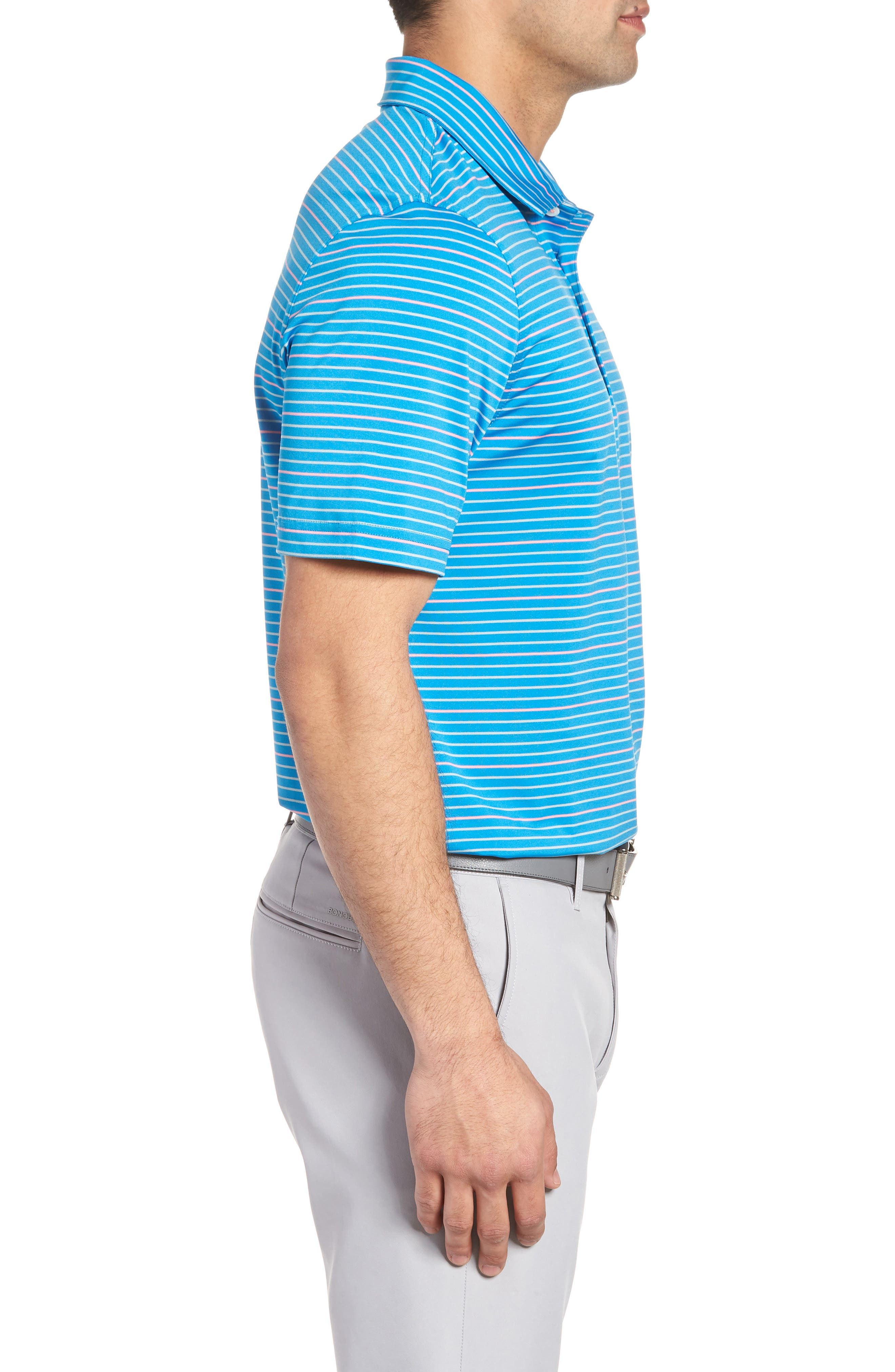 Swindell Stretch Stripe Polo,                             Alternate thumbnail 3, color,                             Dark Cerulean