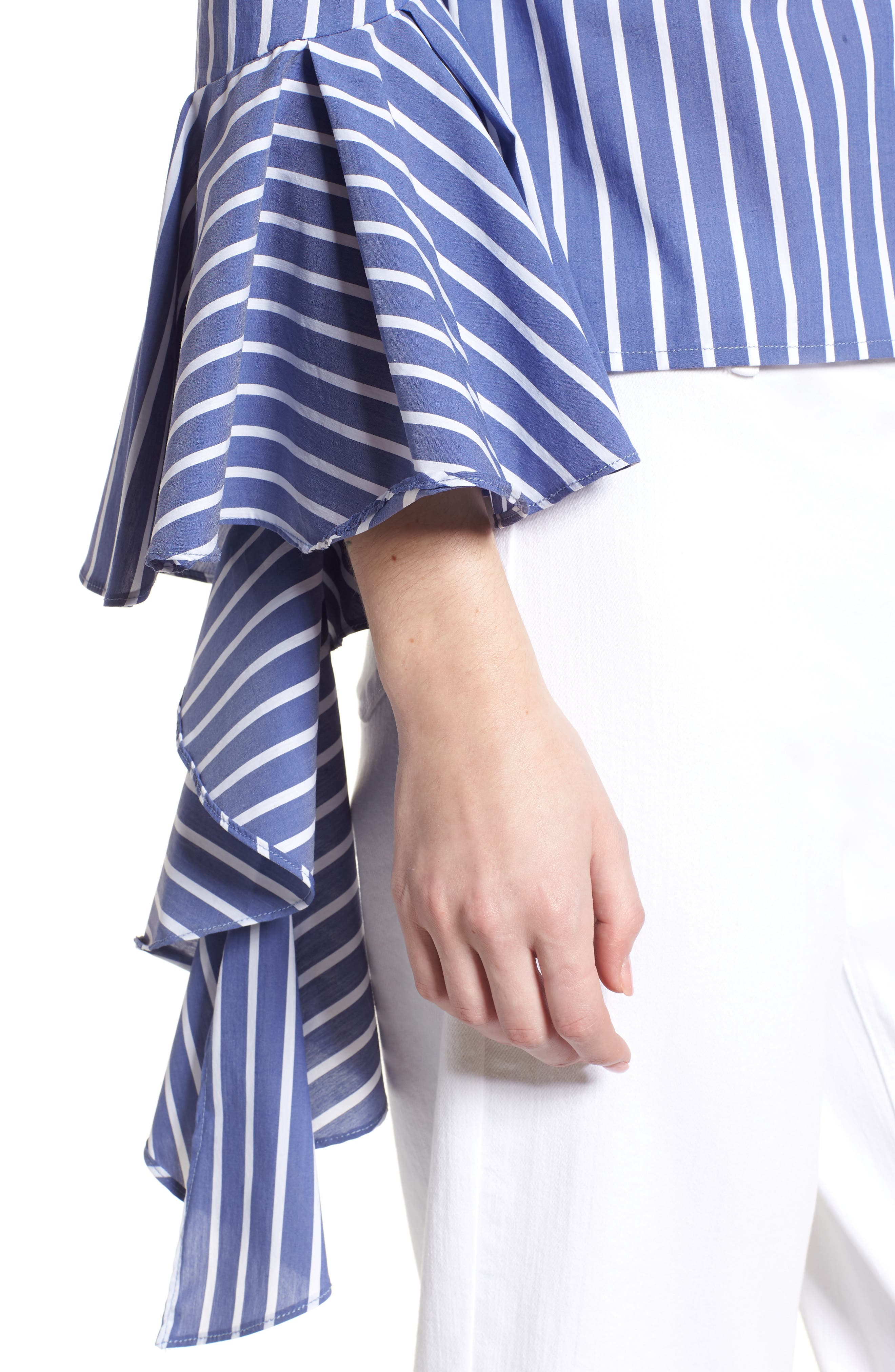 Bishop + Young Gigi Ruffle Sleeve Off the Shoulder Top,                             Alternate thumbnail 4, color,                             Blue White Stripe
