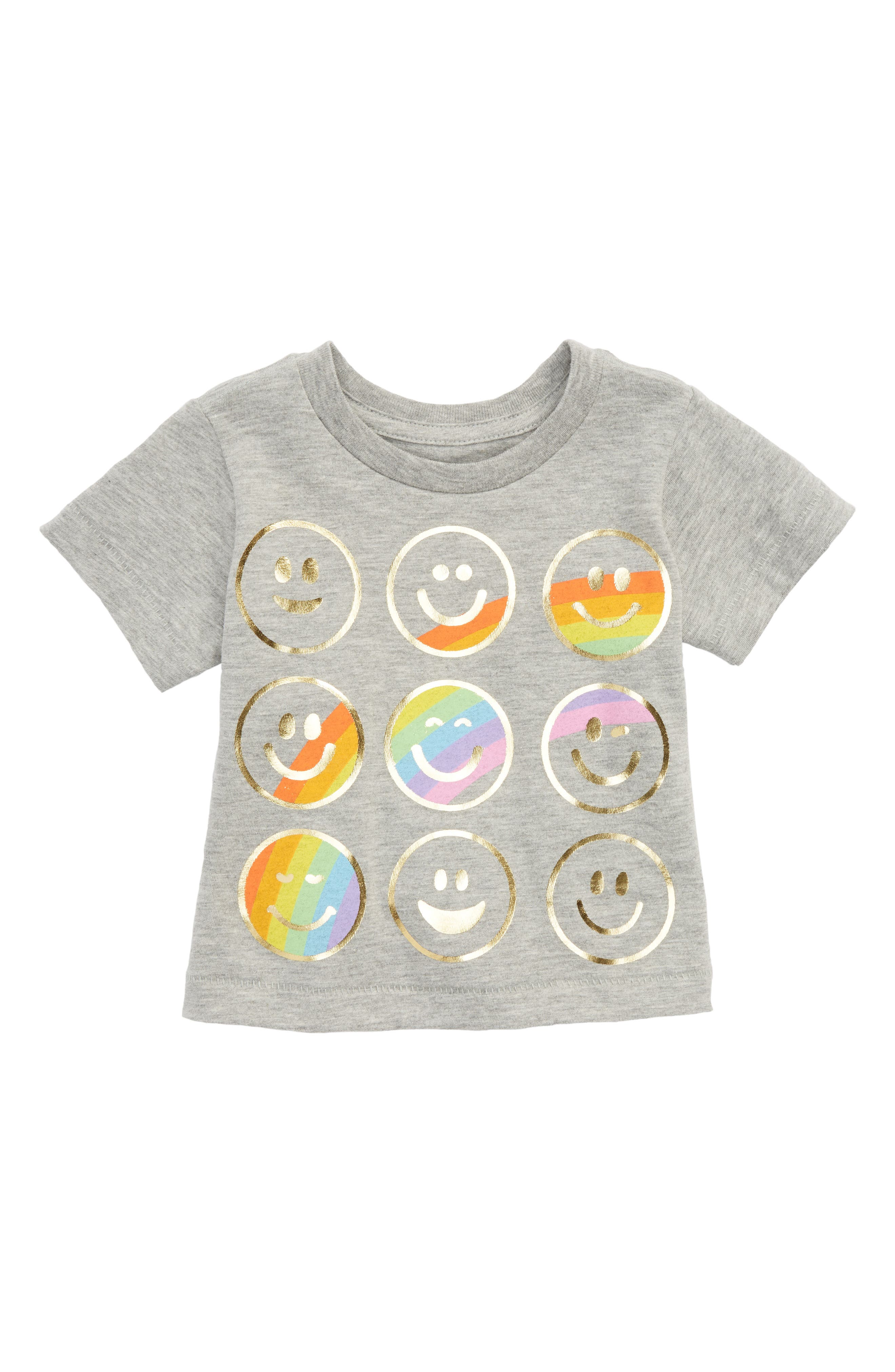 Emoji Graphic Tee,                             Main thumbnail 1, color,                             Light Heather Grey