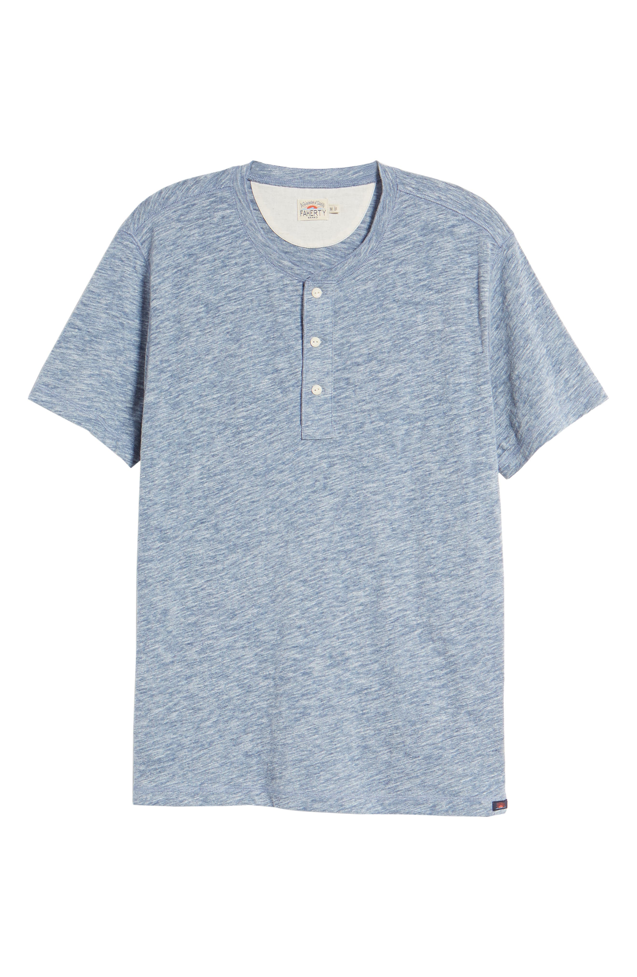 Short Sleeve Heathered Henley,                             Alternate thumbnail 6, color,                             Navy