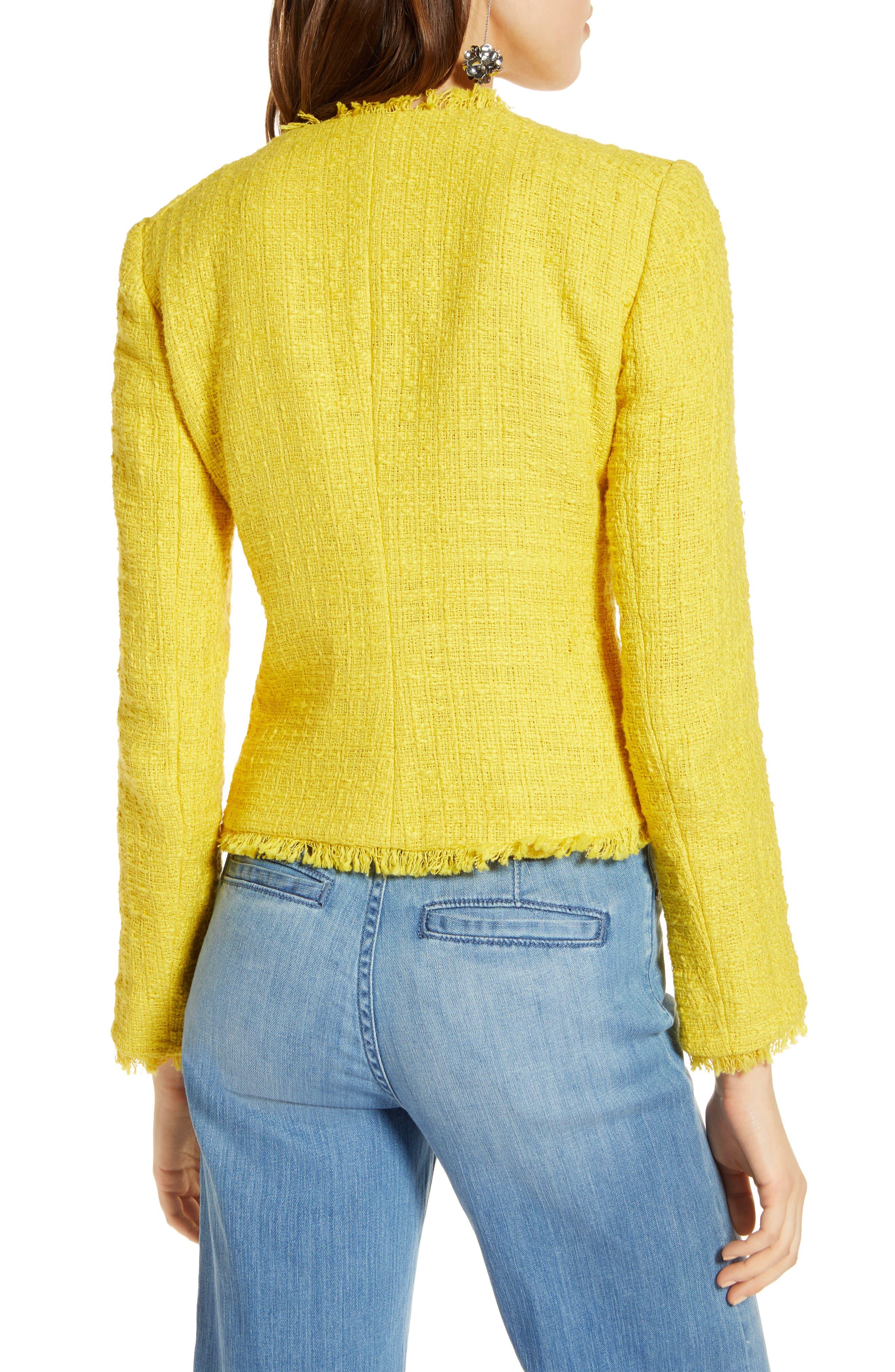 Tweed Moto Jacket,                             Alternate thumbnail 2, color,                             Yellow Maize