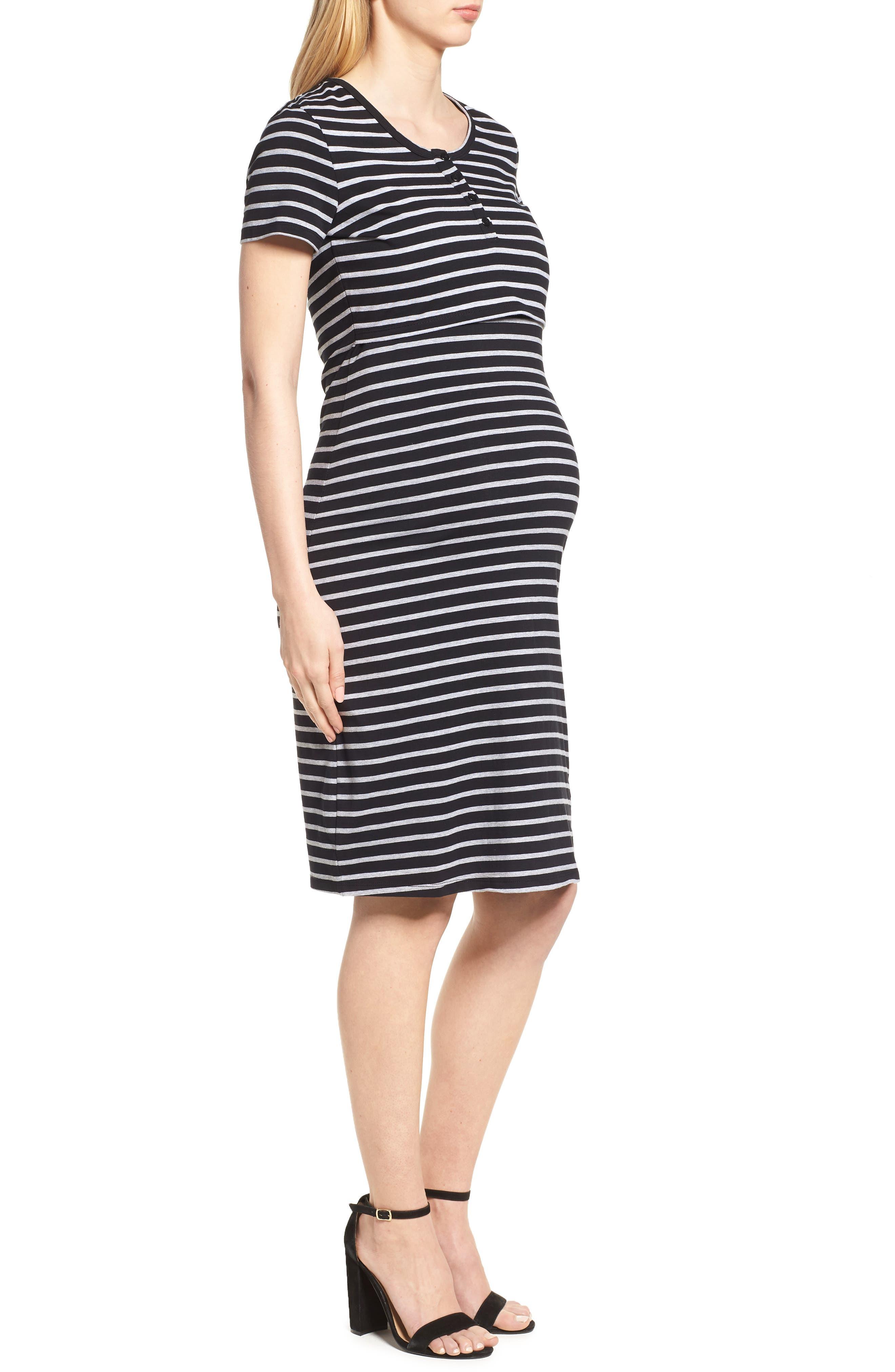 Maternity/Nursing Henley T-Shirt Dress,                             Alternate thumbnail 3, color,                             Black/ Grey