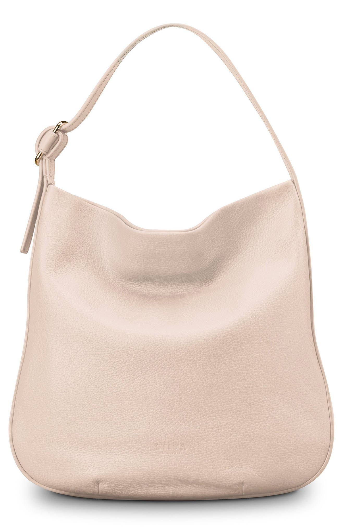 Shinola Birdy Grained Leather Hobo Bag