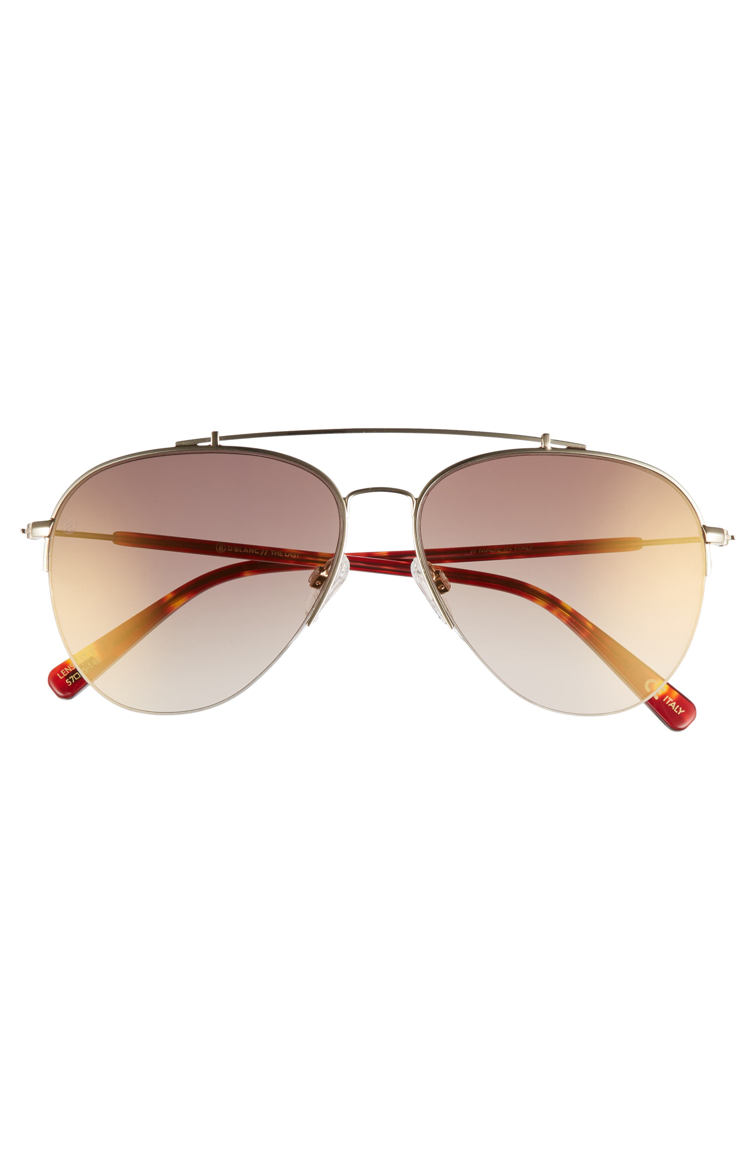 D'BLANC The Last 57mm Aviator Sunglasses,                             Alternate thumbnail 3, color,                             Toffee/ Brown
