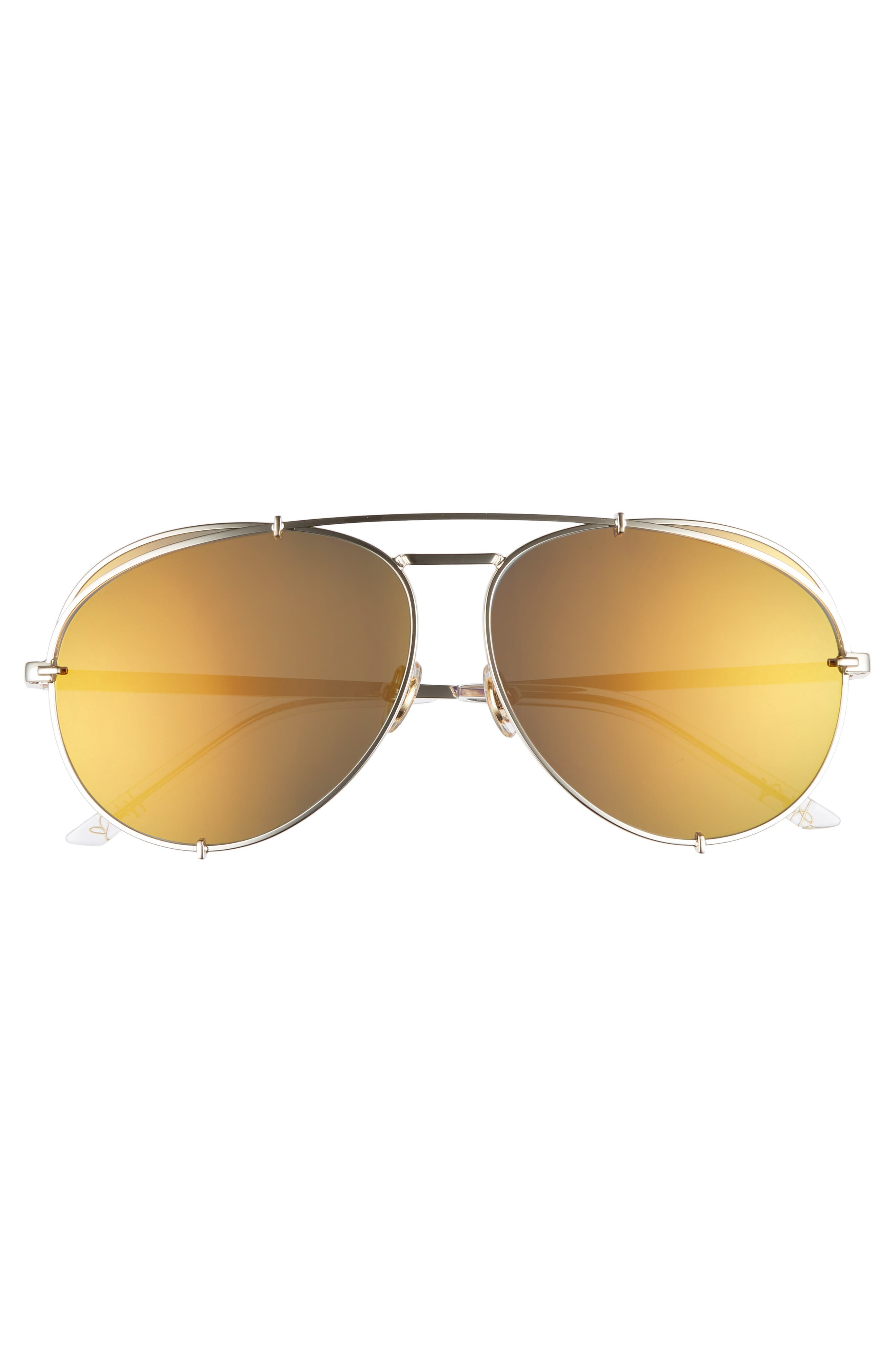 x Khloé Koko 63mm Oversize Aviator Sunglasses,                             Alternate thumbnail 3, color,                             Gold/ Red