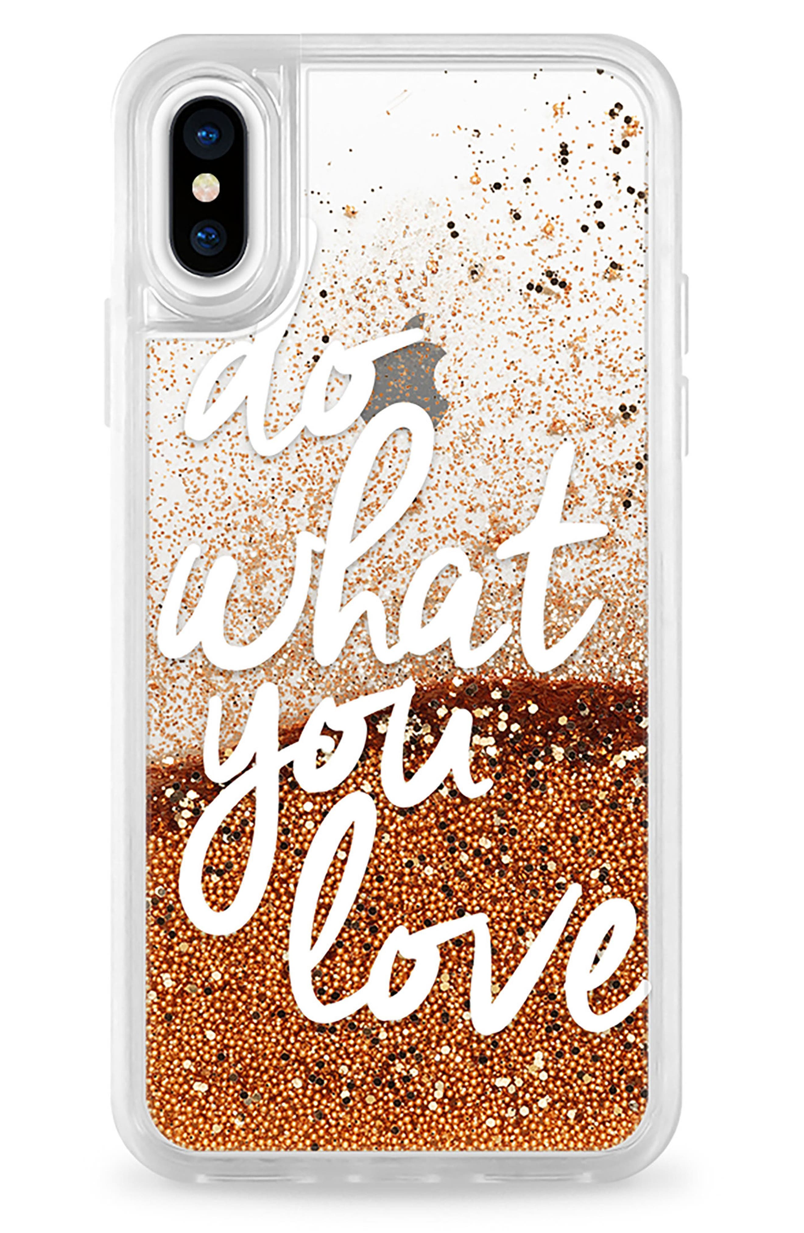 Do What You Love iPhone X Case,                             Main thumbnail 1, color,                             White And Gold