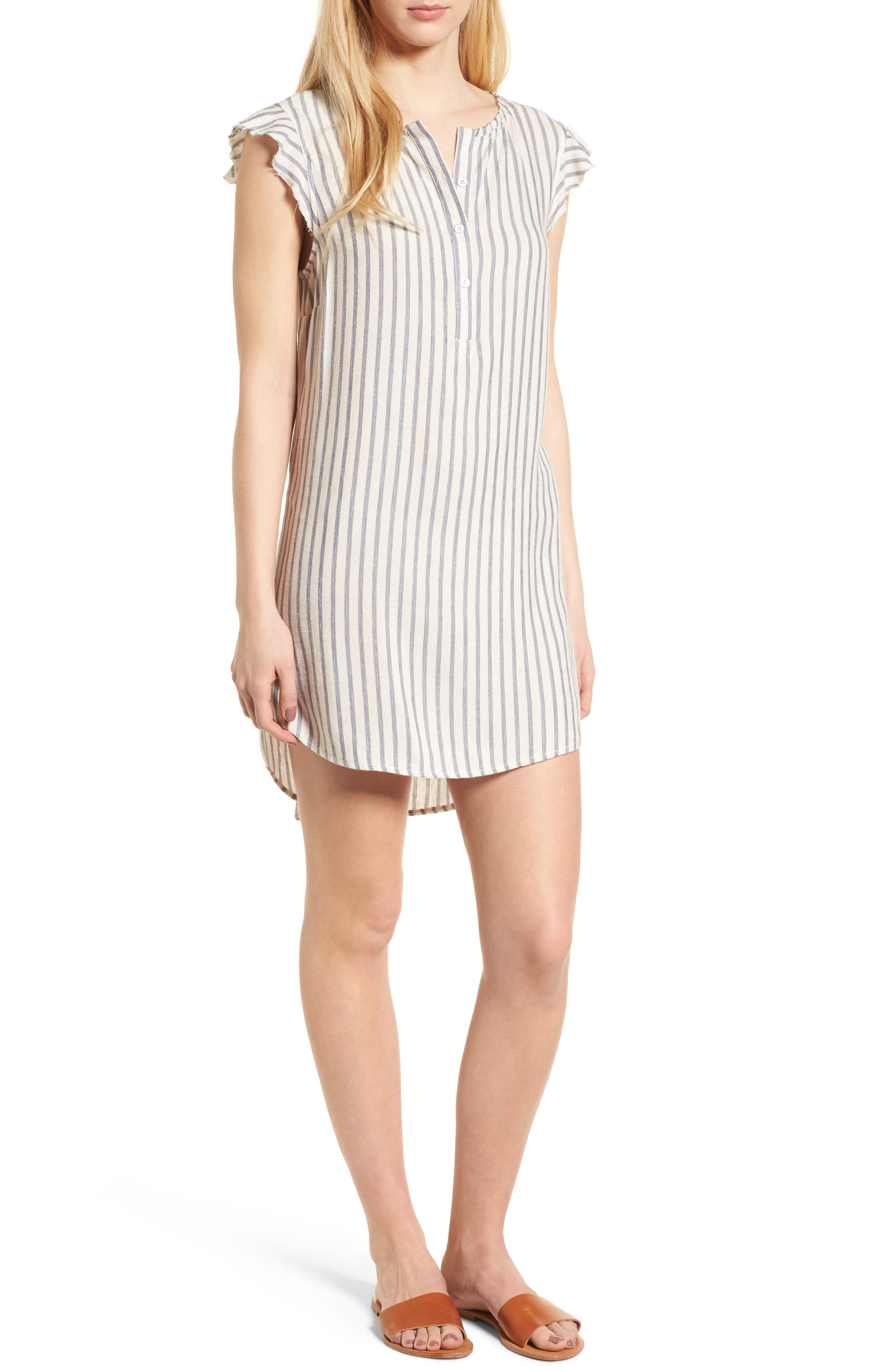 Stripe Ruffle Sleeve Shift Dress,                         Main,                         color, Off White/ Blue