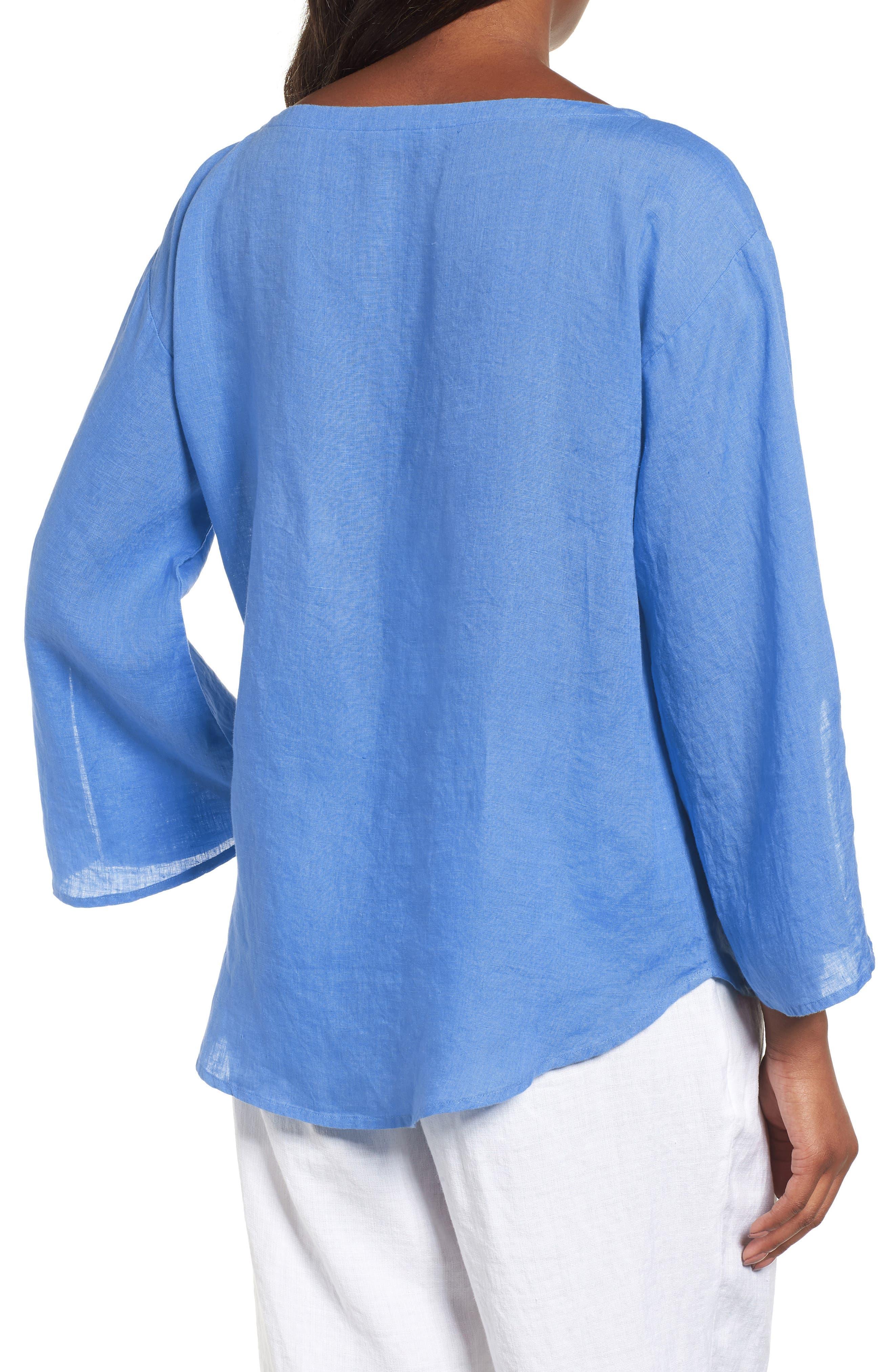Woven Organic Linen Top,                             Alternate thumbnail 2, color,                             Bluebell