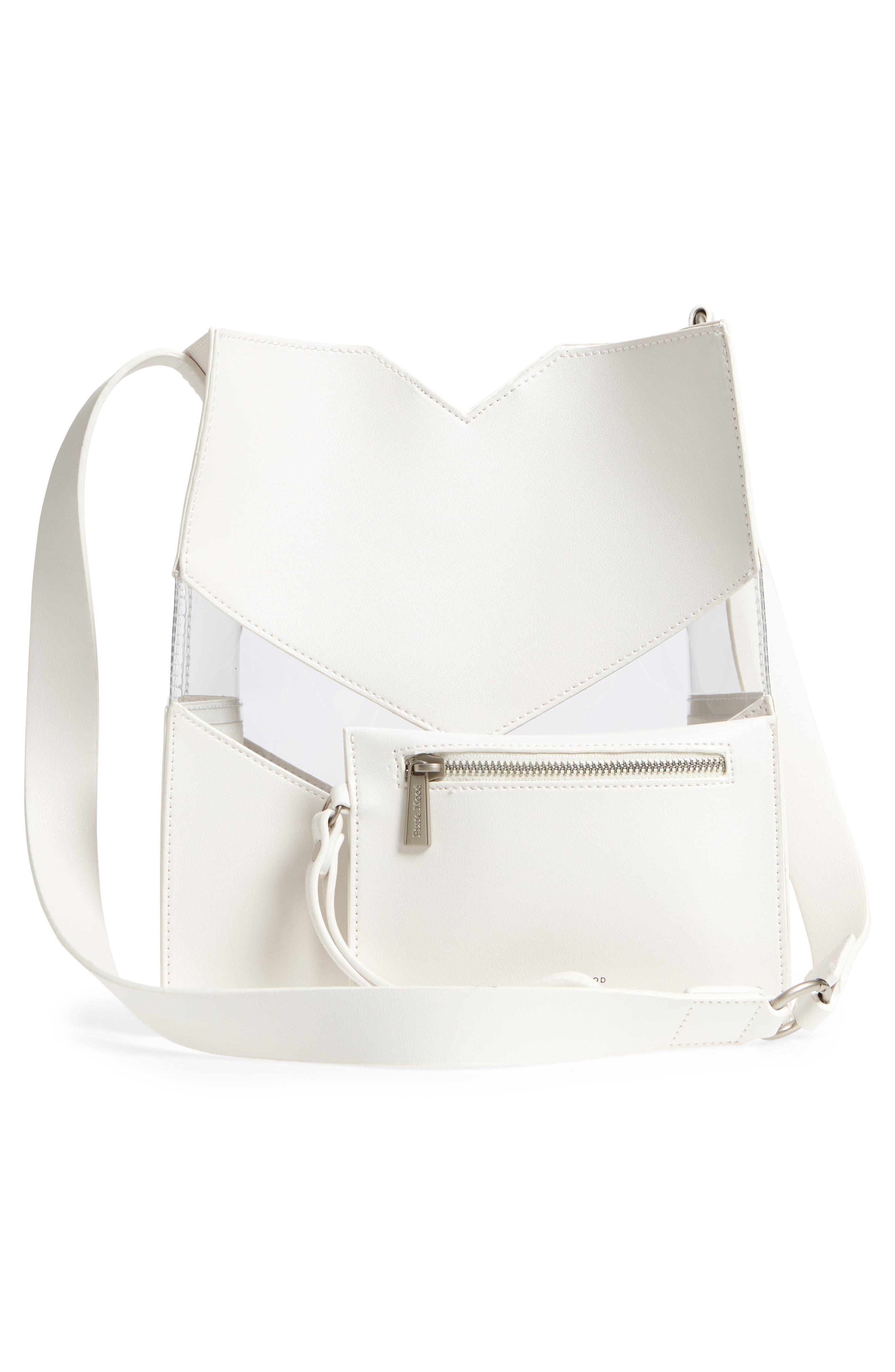 Emily Faux Leather Shoulder Bag,                             Alternate thumbnail 3, color,                             Stark White