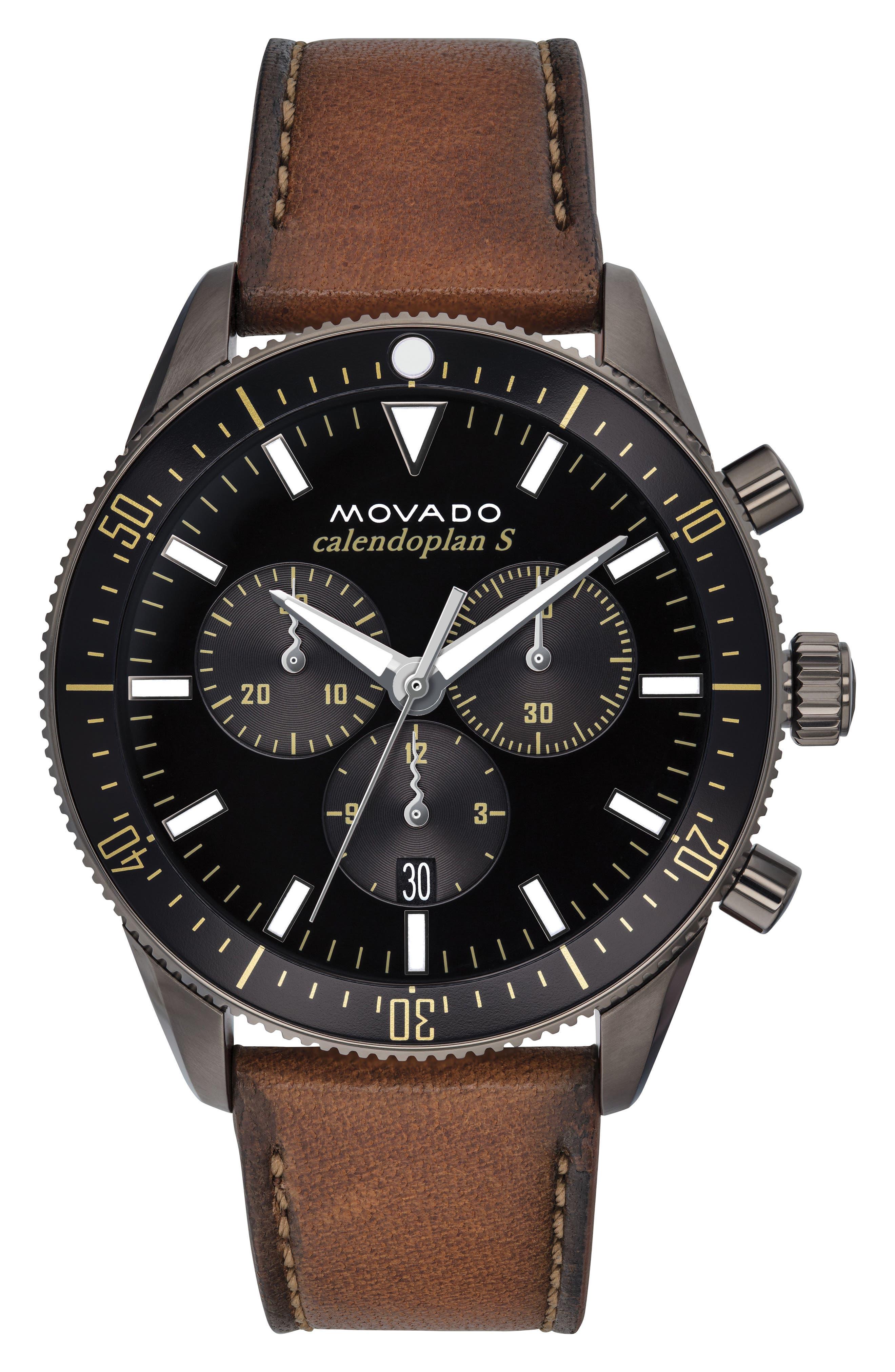Heritage Chrono Leather Strap Watch, 42mm,                         Main,                         color, Cognac/ Black/ Grey