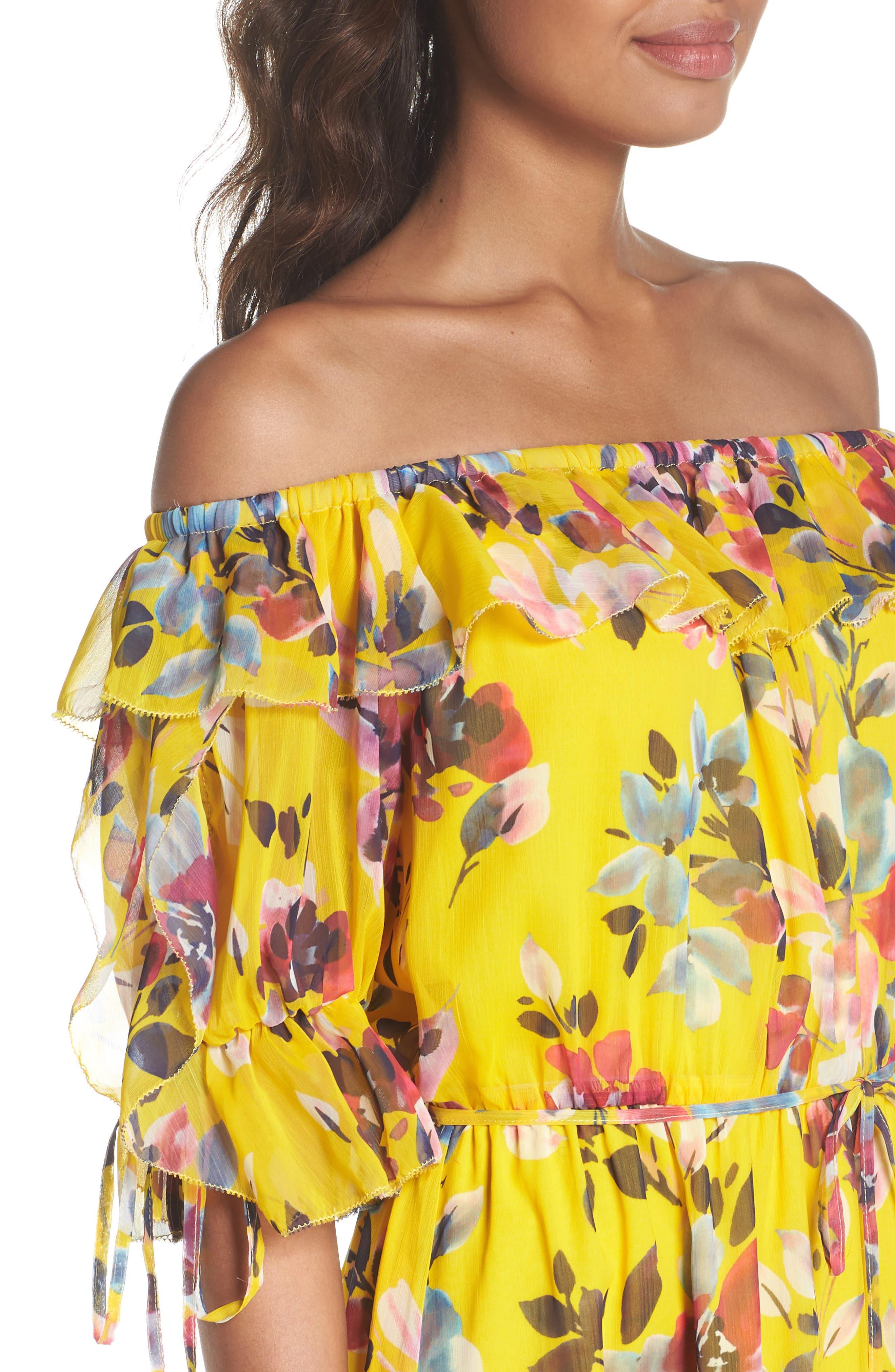 Linosa Crinkle Maxi Dress,                             Alternate thumbnail 4, color,                             Citrus