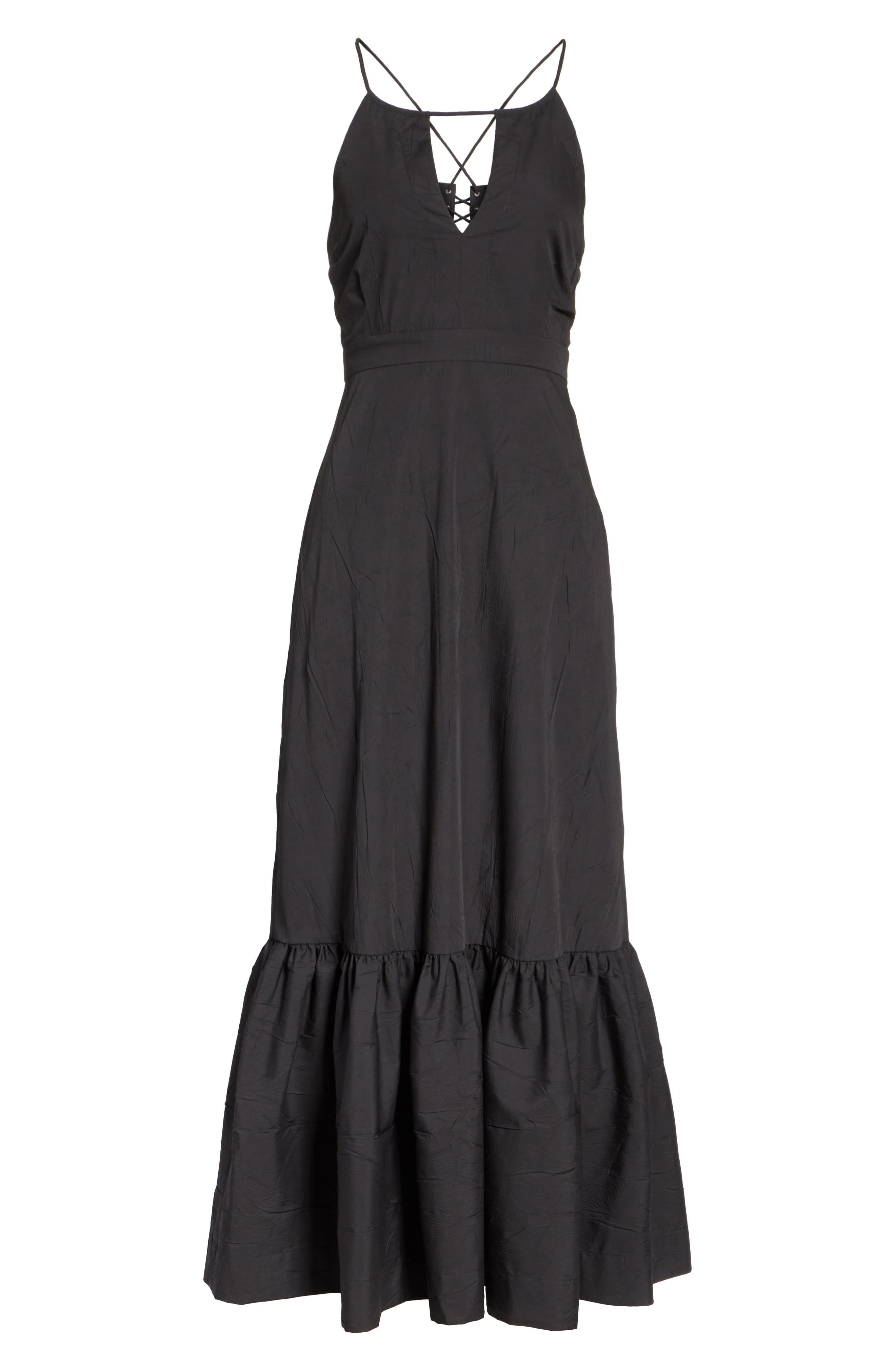 Tiered Halter Keyhole Dress,                             Alternate thumbnail 6, color,                             Black