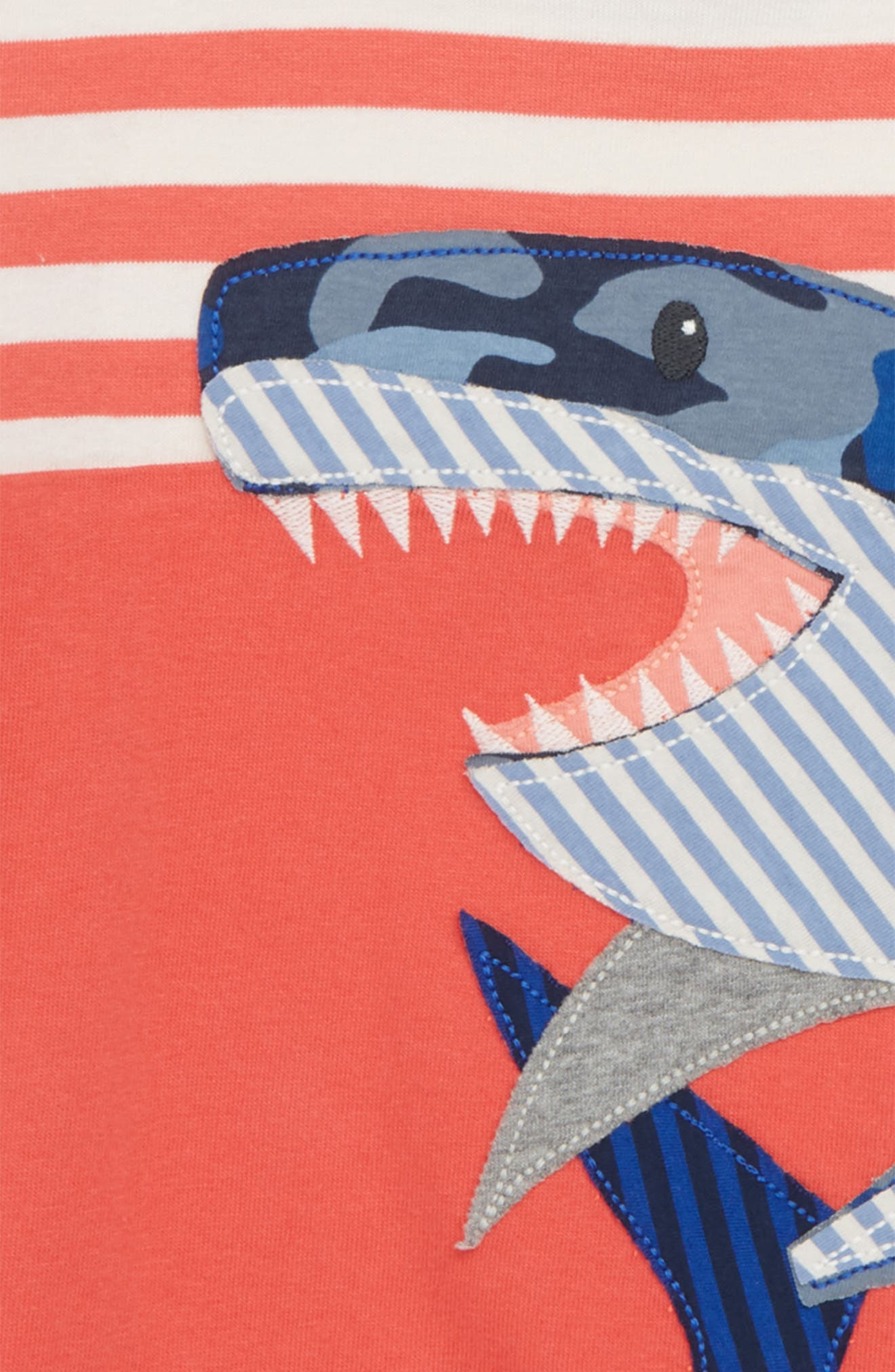 Shark Appliqué T-Shirt,                             Alternate thumbnail 2, color,                             Jam Red/ Ecru Shark