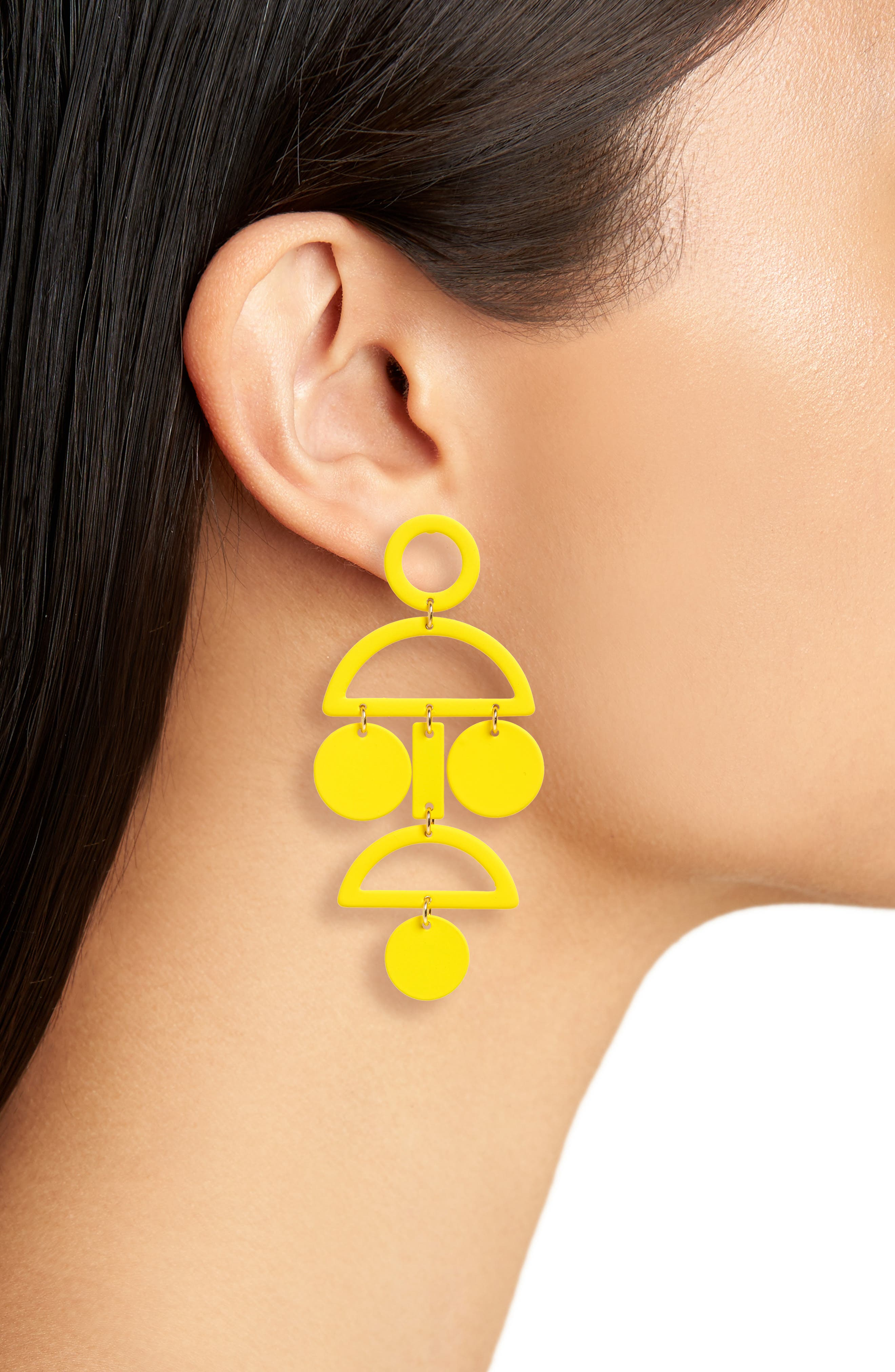 Geo Statement Earrings,                             Alternate thumbnail 2, color,                             Yellow