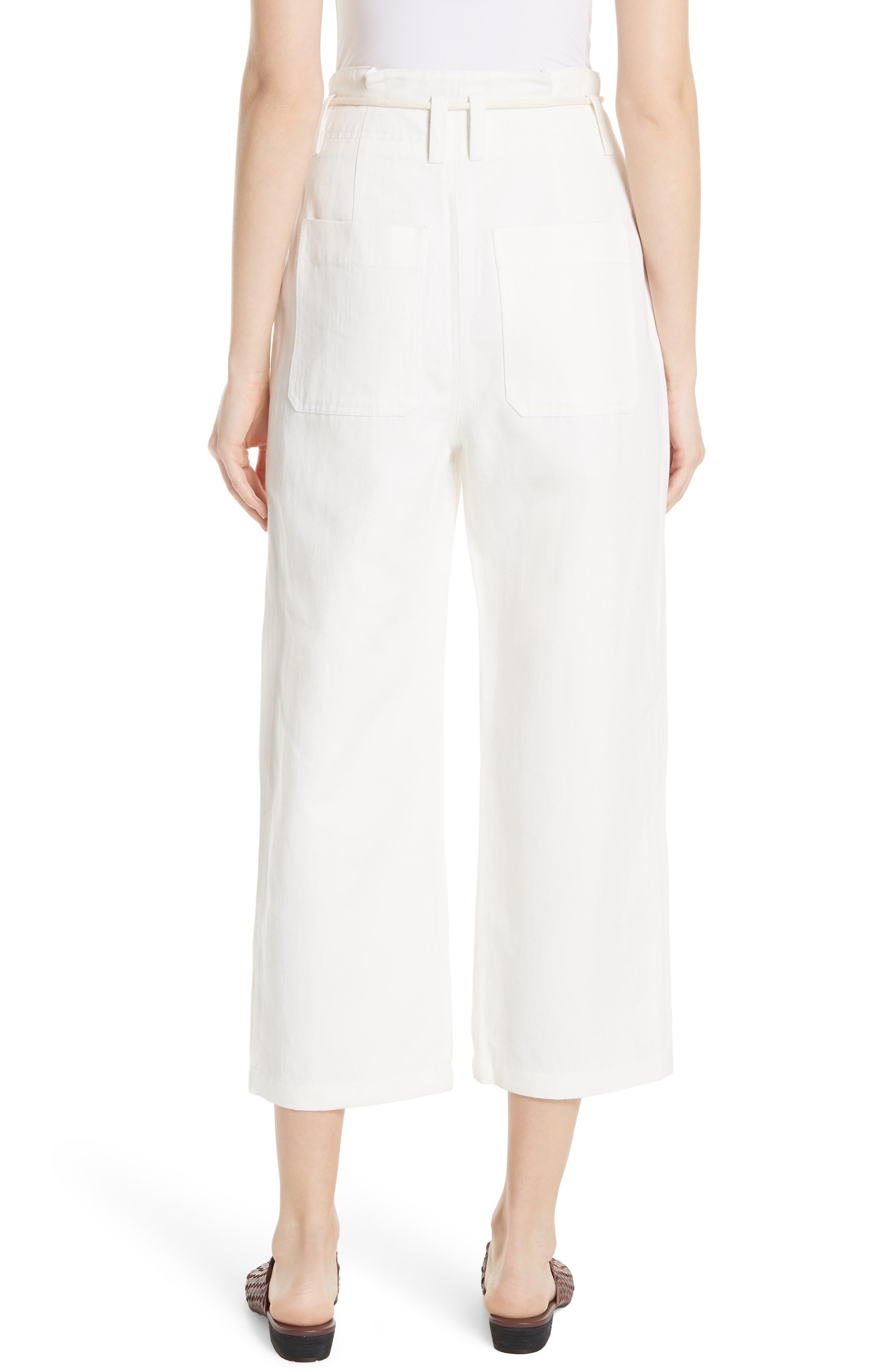 High Rise Linen Cotton Crop Pants,                             Alternate thumbnail 2, color,                             Off White