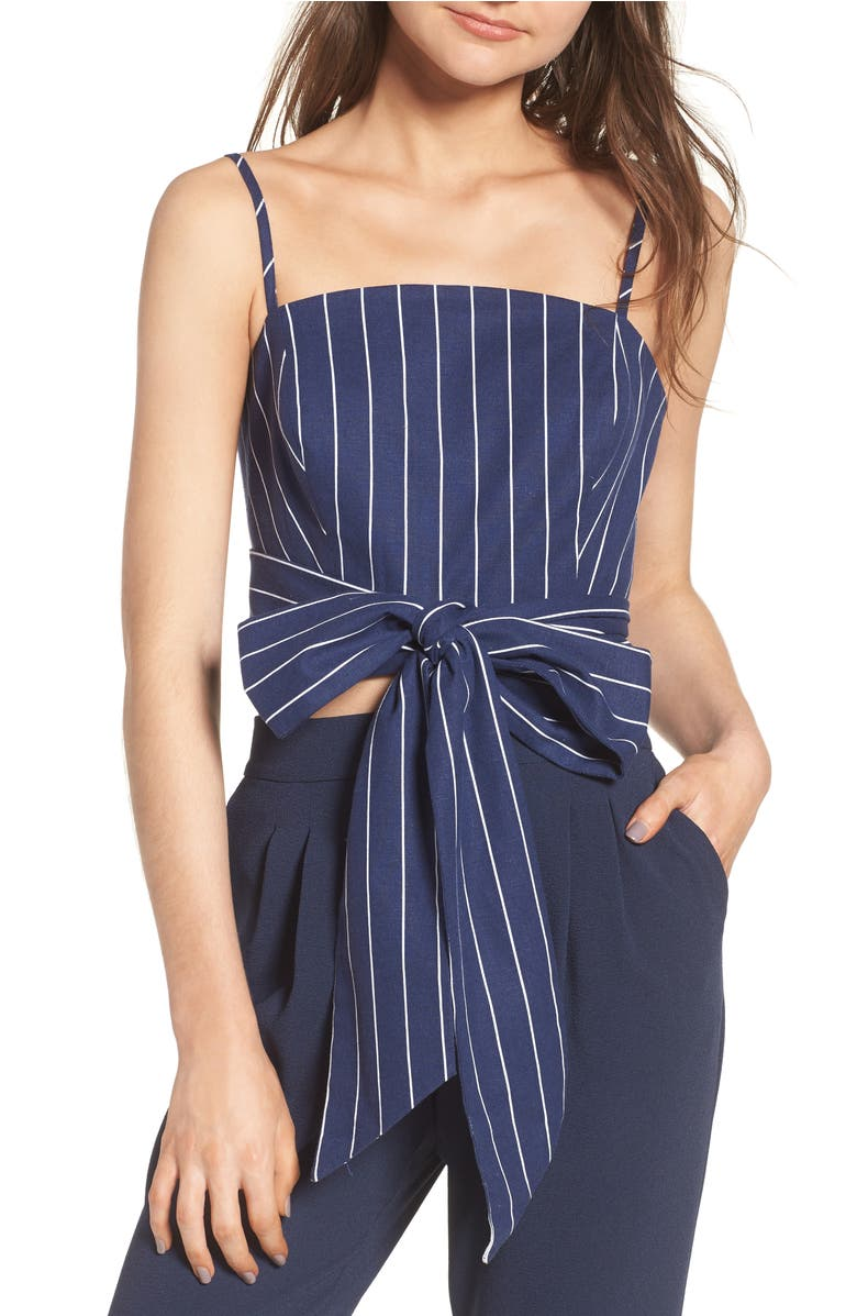 Kean Wrap Crop Top, Main, color, Navy Stripe