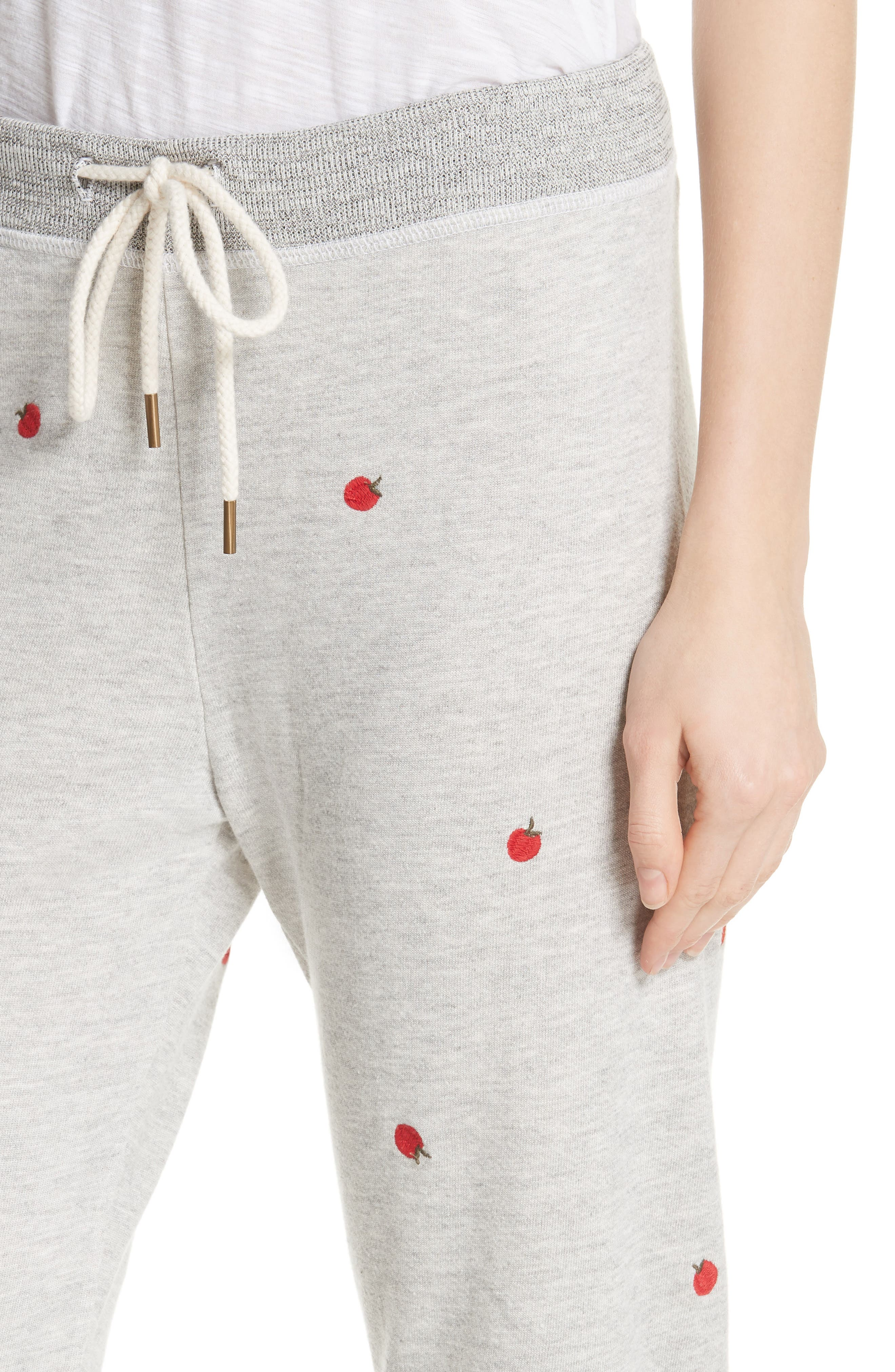 The Cropped Sweatpants,                             Alternate thumbnail 4, color,                             Light Heather Grey/ Red Apples