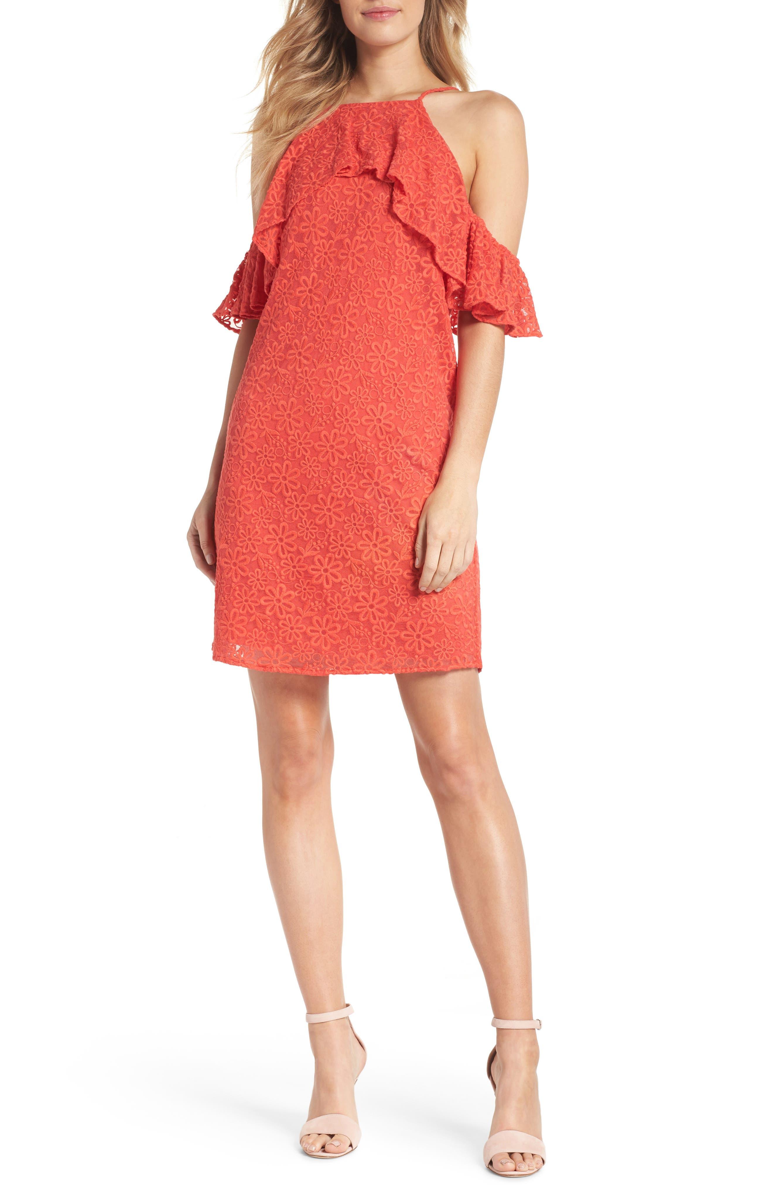 Roseville Cold Shoulder Embroidered Tulle Halter Dress,                         Main,                         color, Lady Bug