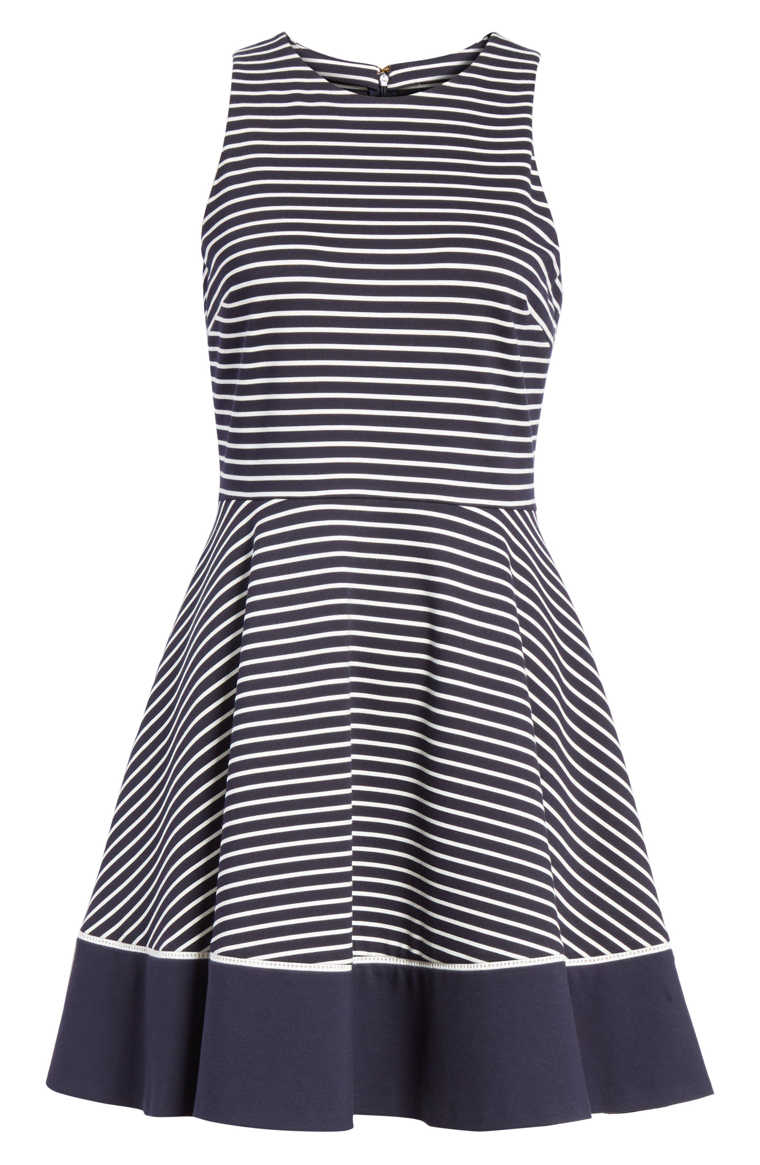 stripe ponte fit & flare dress,                             Alternate thumbnail 6, color,                             Rich Navy/ Off White