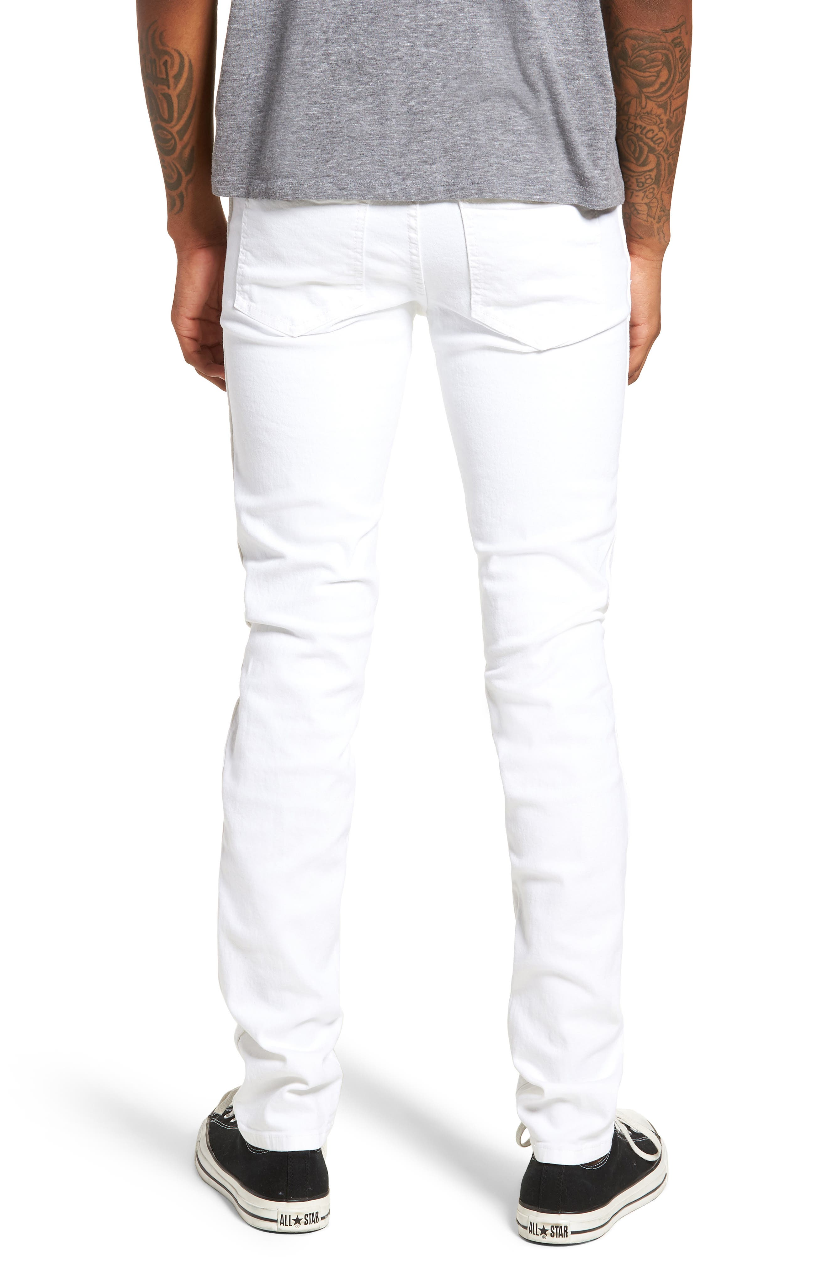 Snap Skinny Fit Jeans,                             Alternate thumbnail 2, color,                             White Ripped