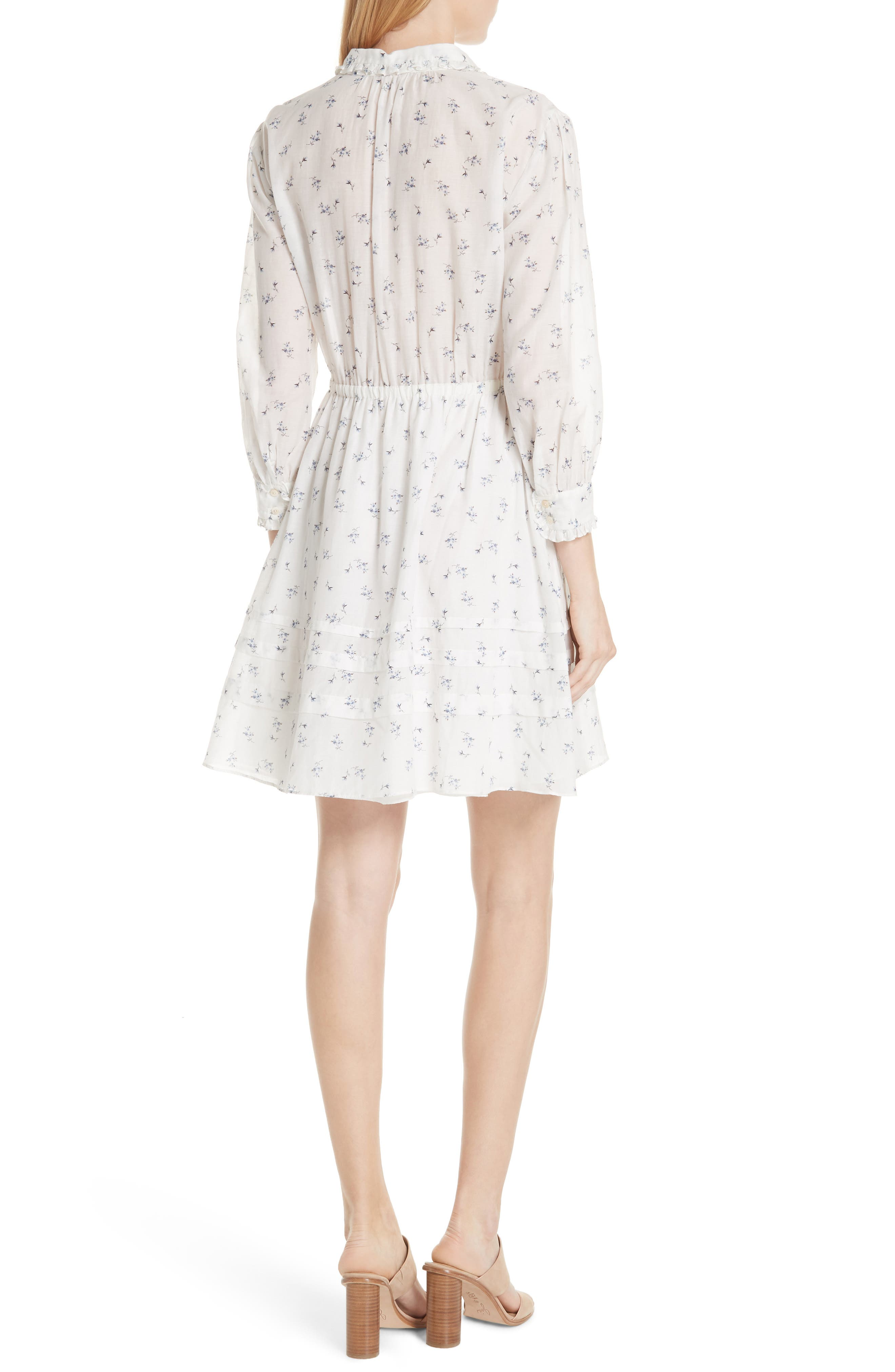 Floral Sprig Shirtdress,                             Alternate thumbnail 2, color,                             Snow Combo