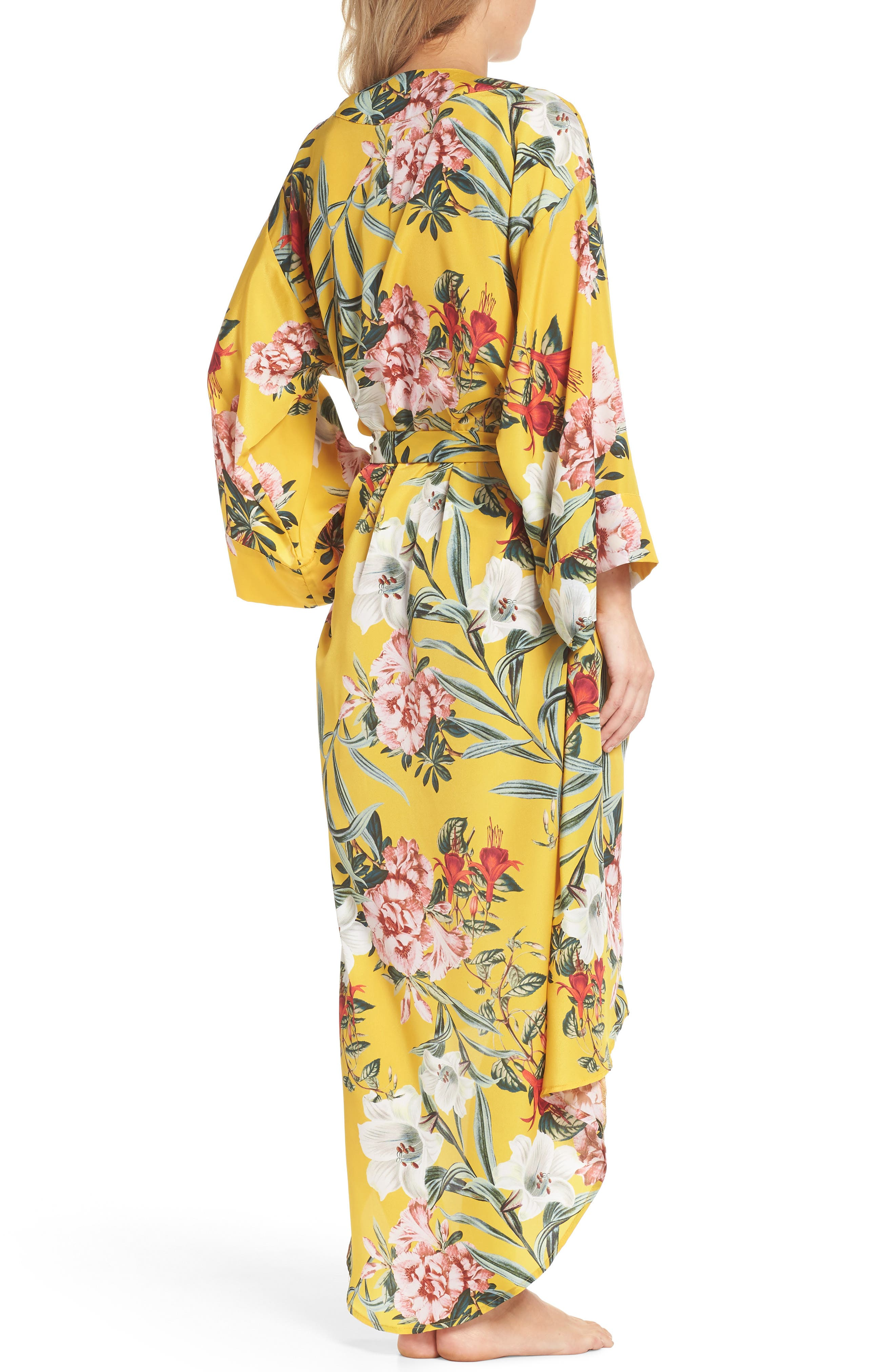 Isabella High/Low Robe,                             Alternate thumbnail 2, color,                             Marigold Floral