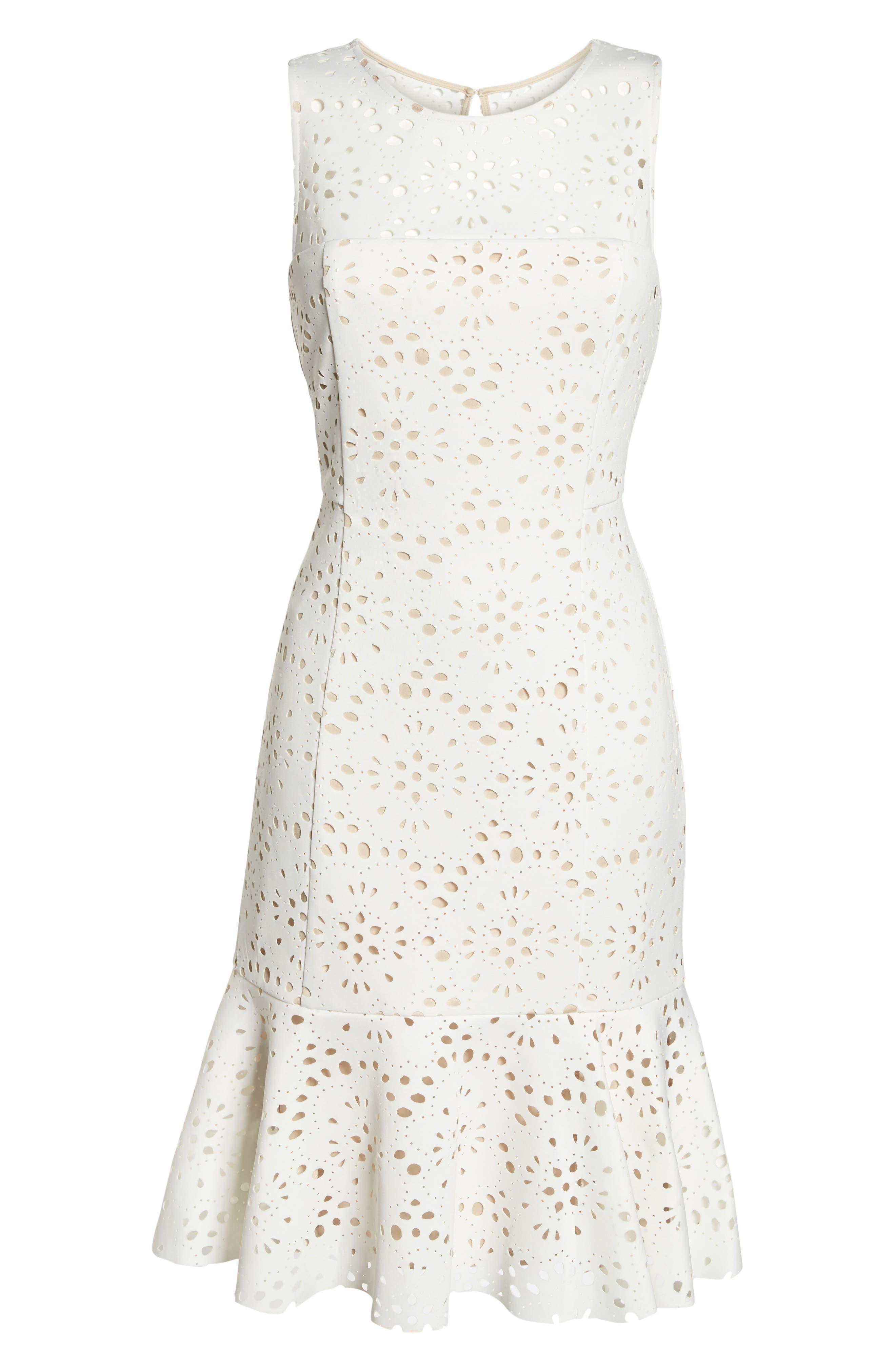 Flounce Laser Cut Scuba Dress,                             Alternate thumbnail 7, color,                             White
