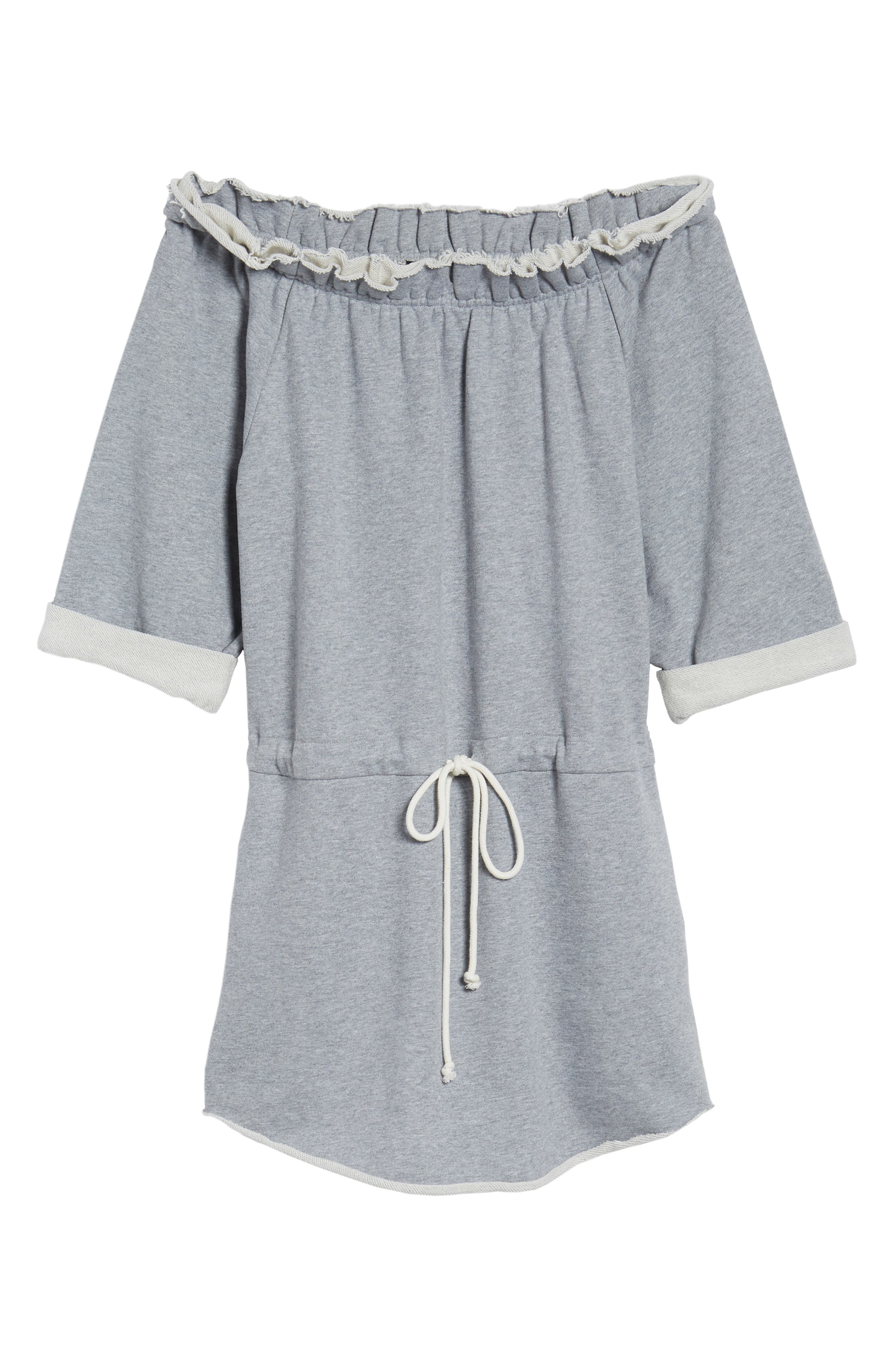 Off the Shoulder Dress,                             Alternate thumbnail 7, color,                             Heather Grey