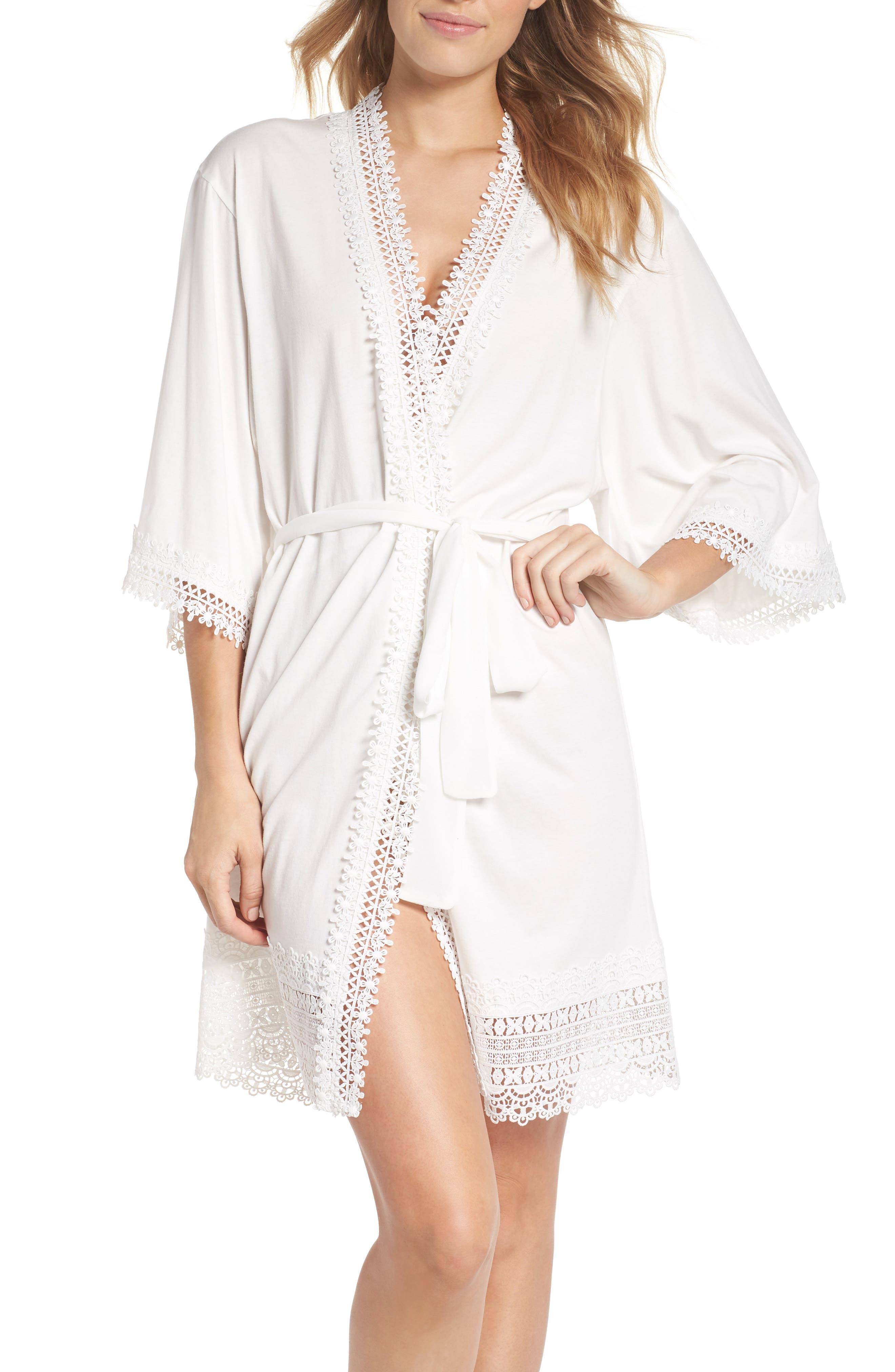 Edie Short Robe,                         Main,                         color, Ivory