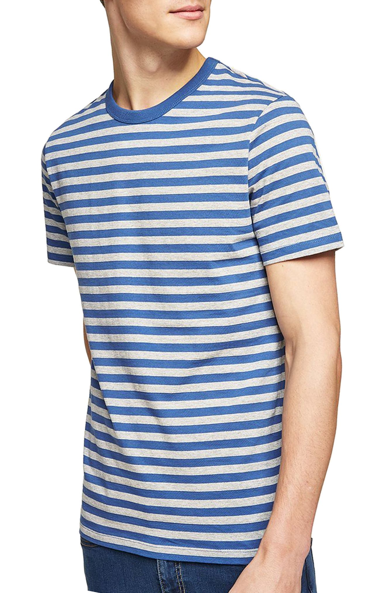 Slim Fit Stripe T-Shirt,                             Main thumbnail 1, color,                             Mid Blue Multi