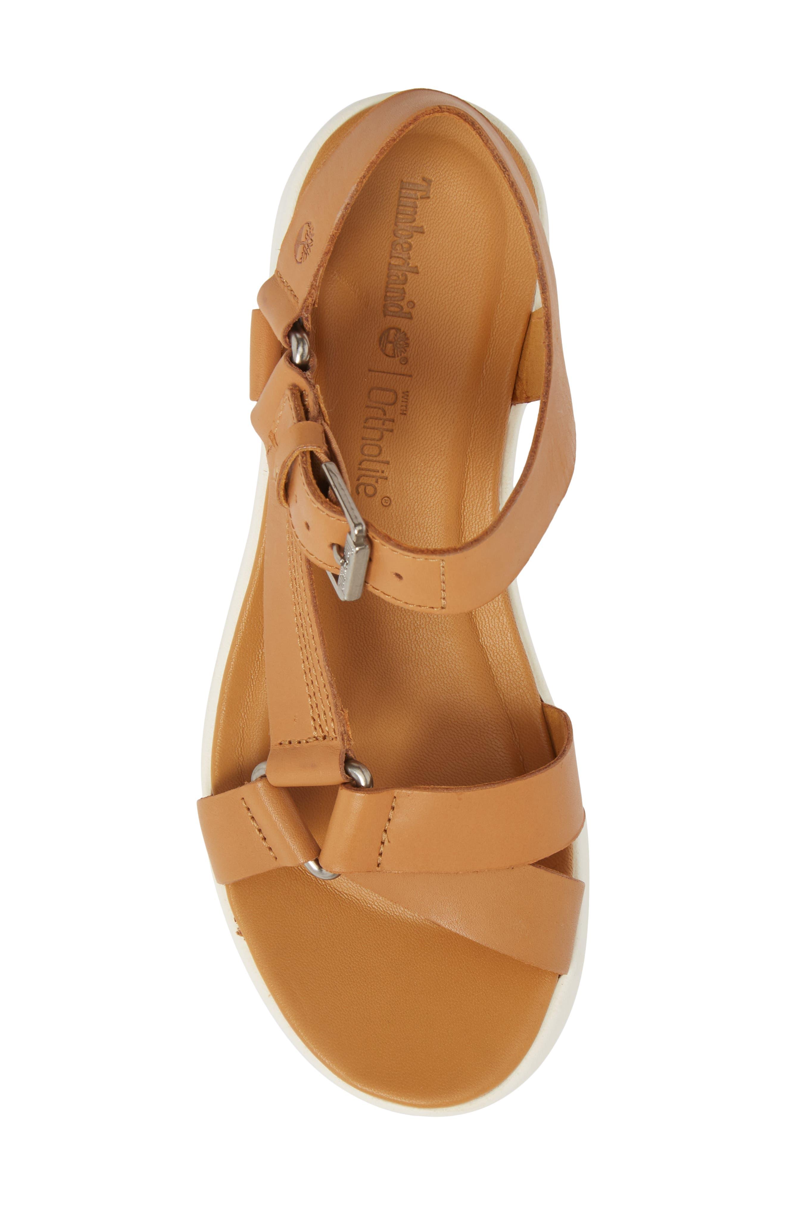 Los Angeles Wind Sport Sandal,                             Alternate thumbnail 5, color,                             Medium Brown Leather