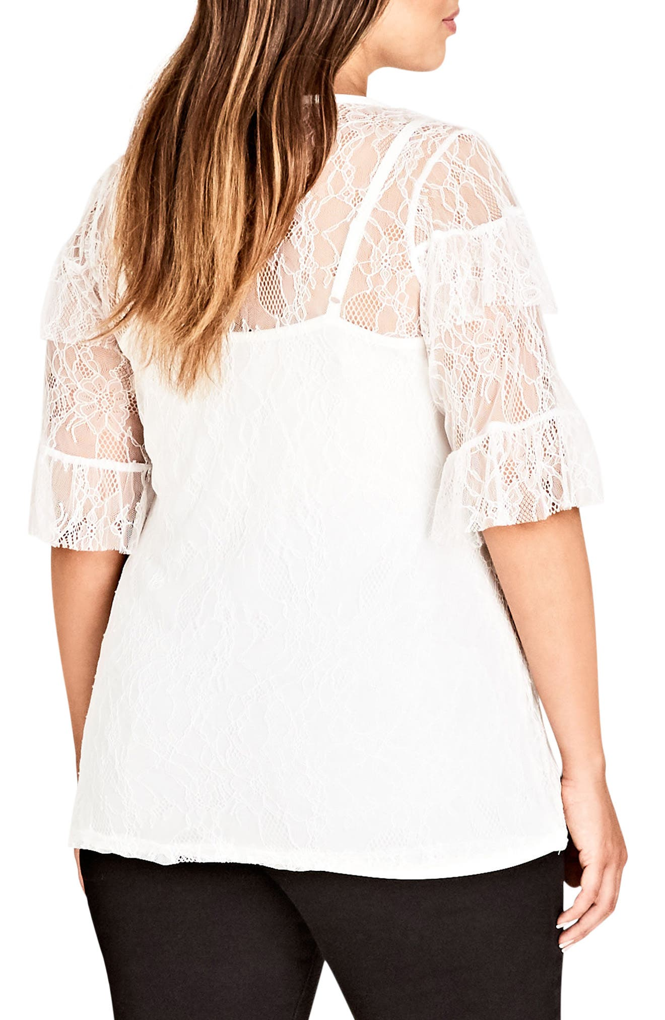 Lace Power Top,                             Alternate thumbnail 2, color,                             Ivory