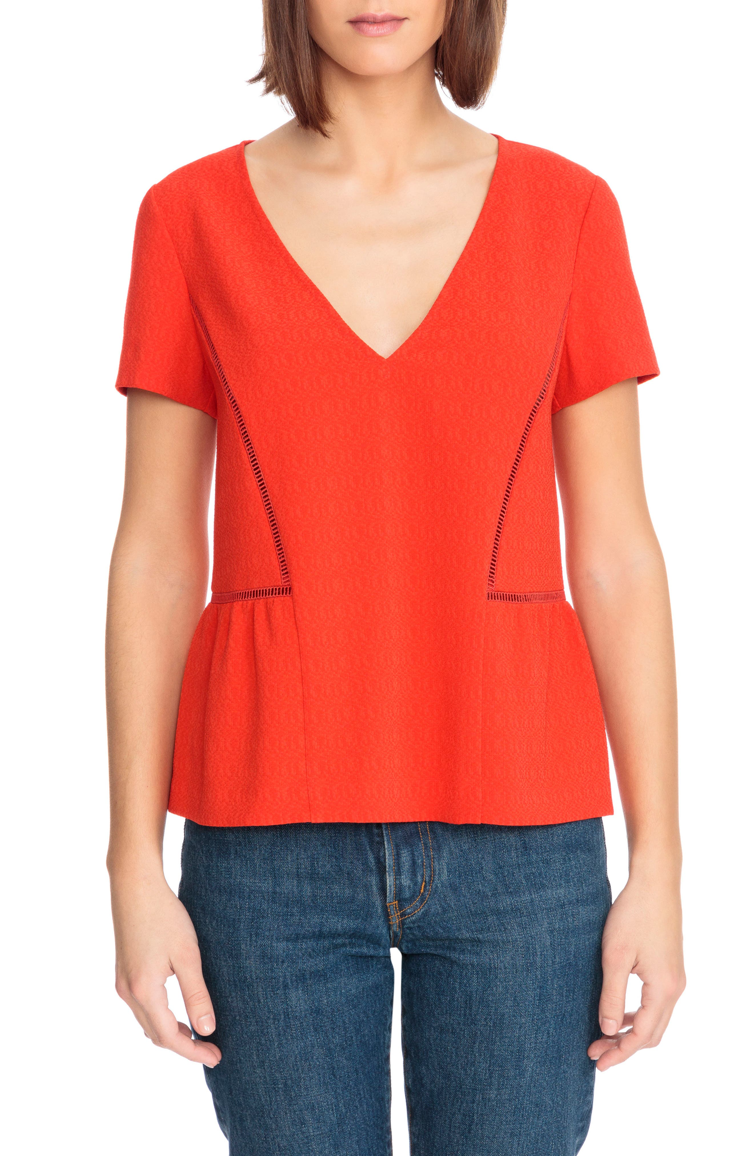 Amanda Ladder Stitch Blouse,                         Main,                         color, Coral Red