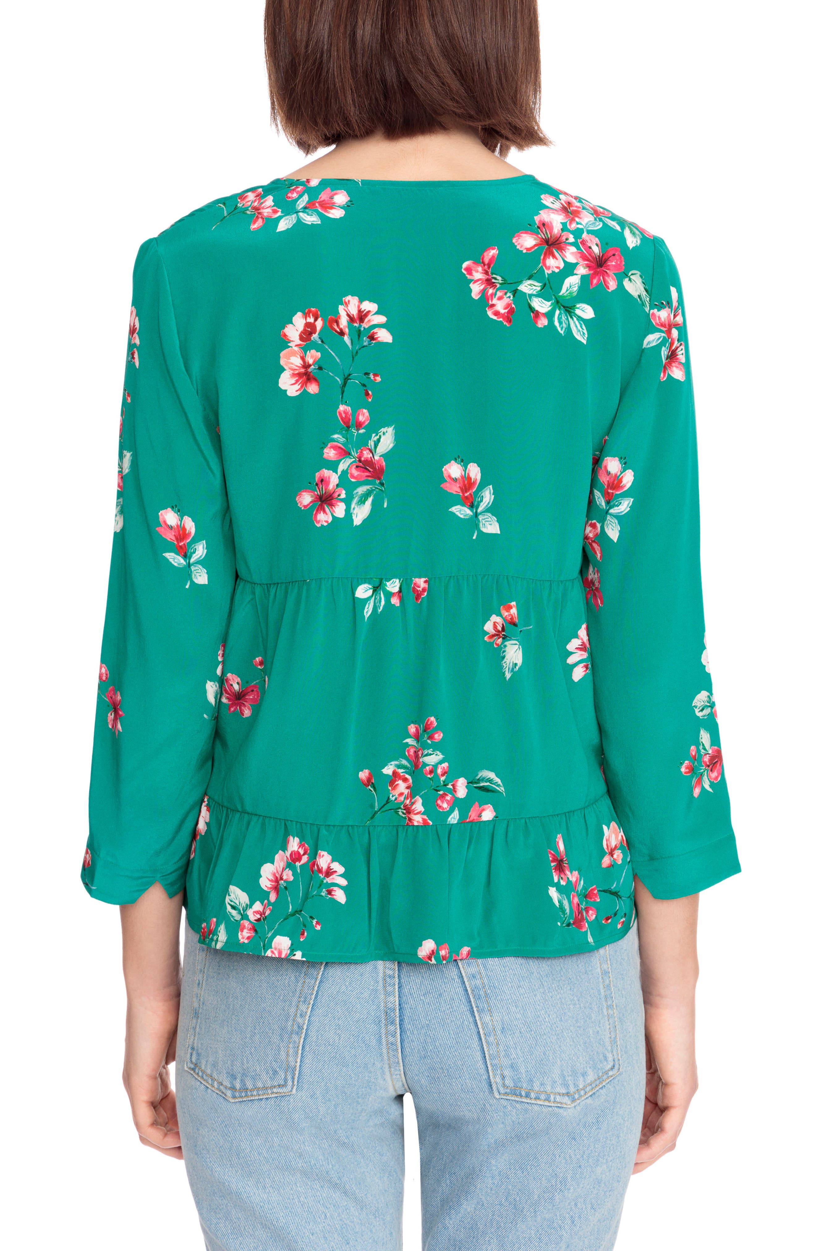Anna Floral Silk Blouse,                             Alternate thumbnail 3, color,                             Bouquet Print On Green